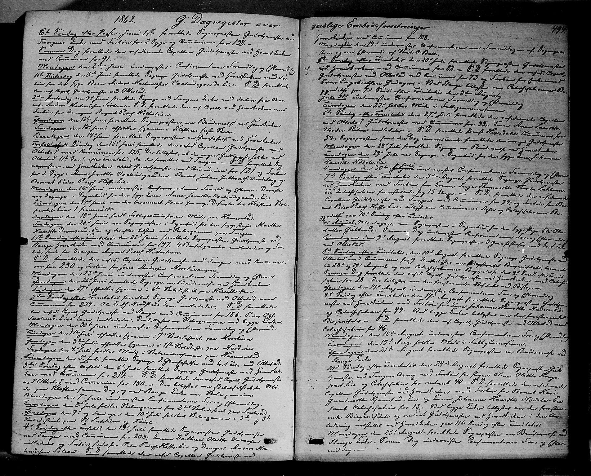 SAH, Stange prestekontor, K/L0013: Ministerialbok nr. 13, 1862-1879, s. 494
