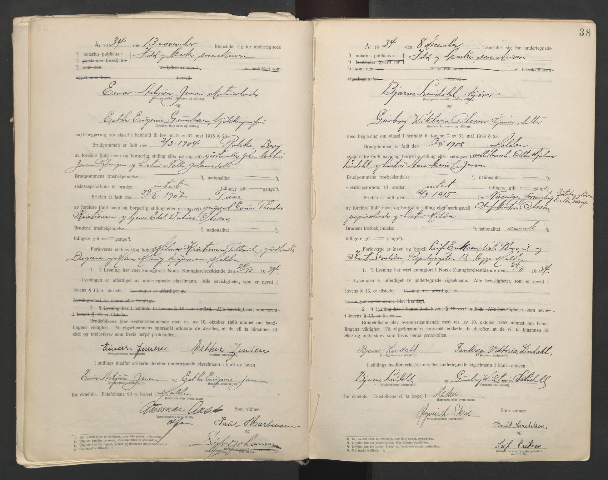 SAO, Idd og Marker sorenskriveri, L/Lc/L0001: Vigselsbøker, 1920-1942, s. 38