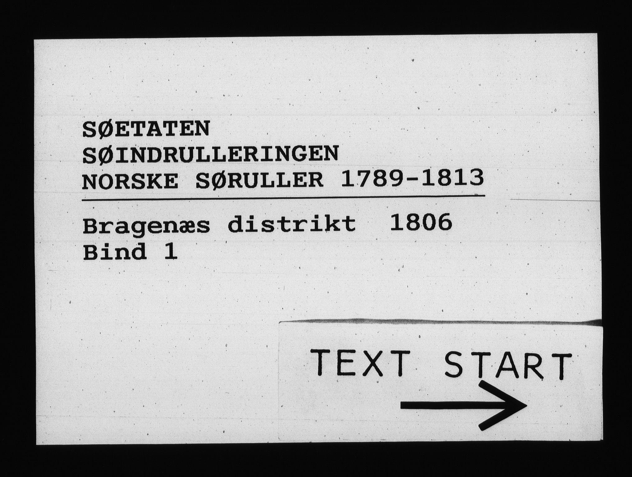 RA, Sjøetaten, F/L0148: Bragernes distrikt, bind 1, 1806