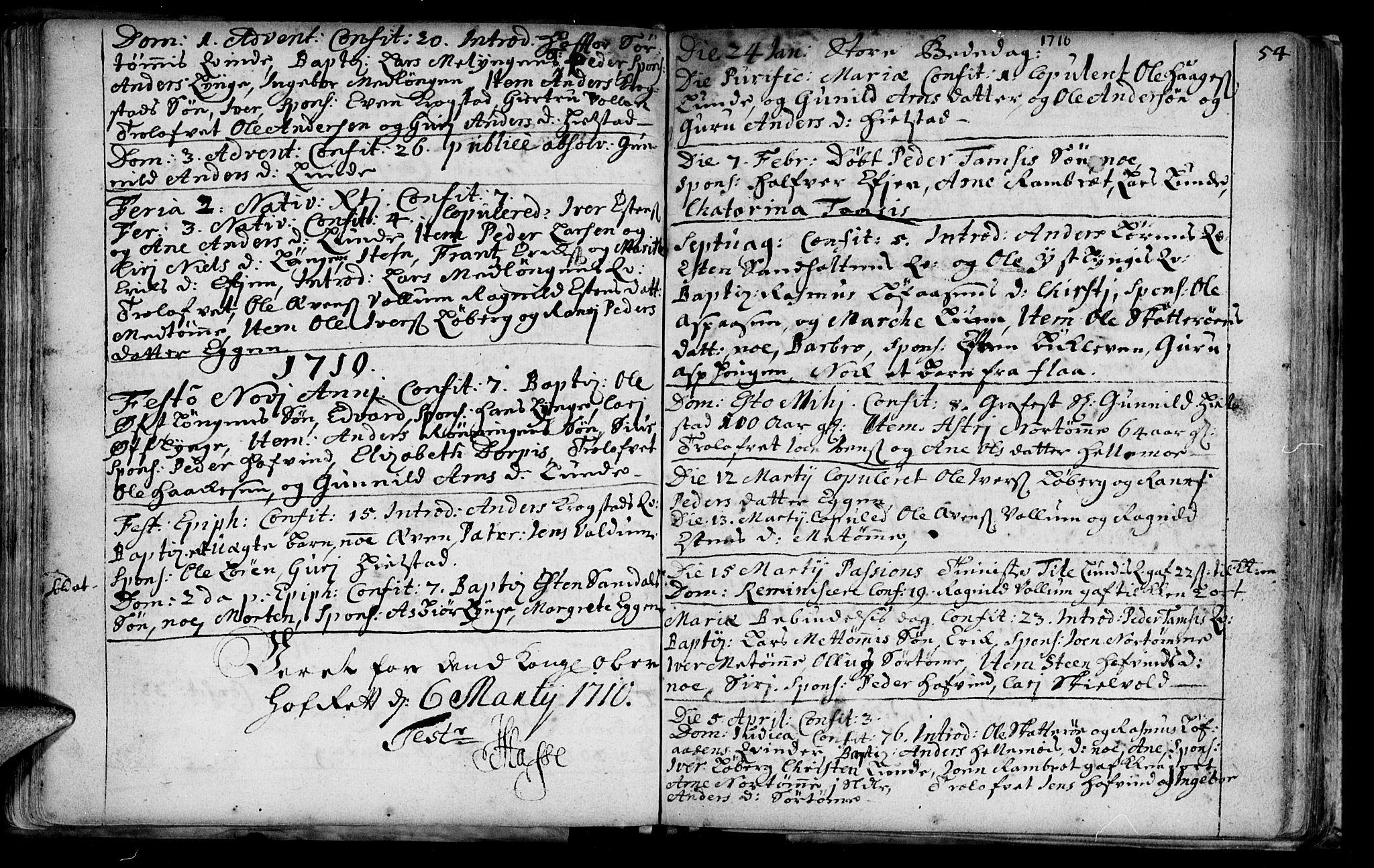 SAT, Ministerialprotokoller, klokkerbøker og fødselsregistre - Sør-Trøndelag, 692/L1101: Ministerialbok nr. 692A01, 1690-1746, s. 54