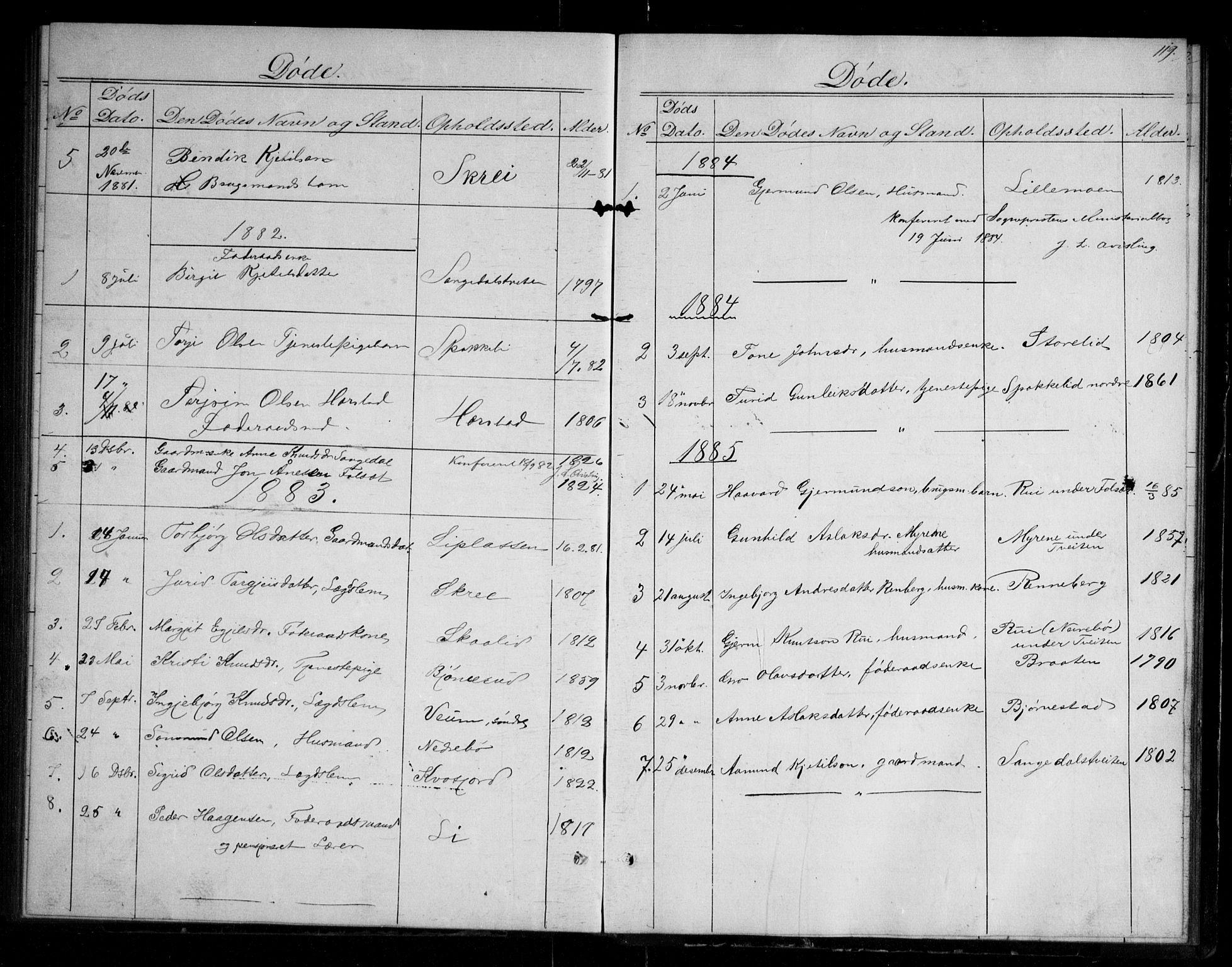 SAKO, Fyresdal kirkebøker, G/Gb/L0001: Klokkerbok nr. II 1, 1864-1890, s. 119