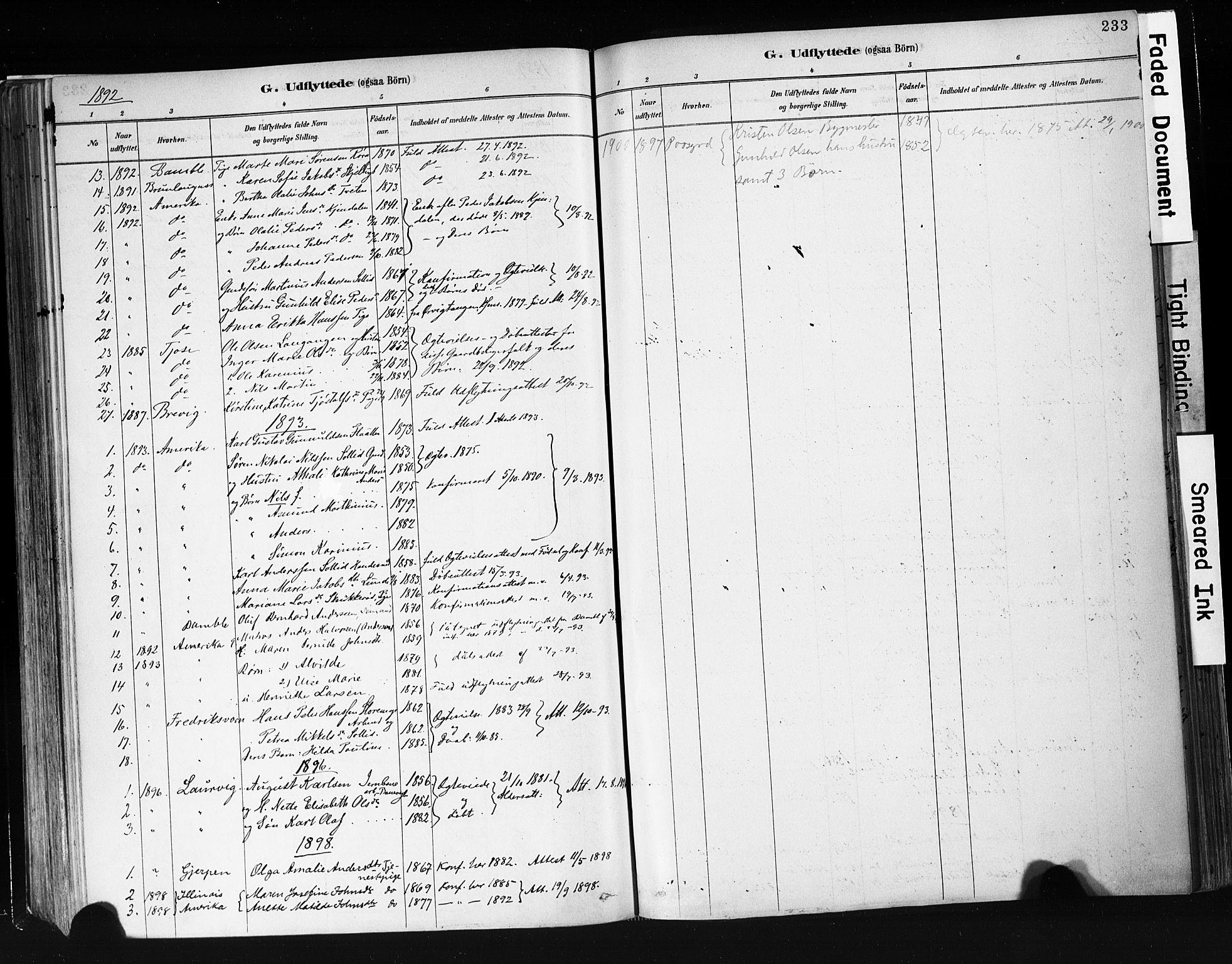 SAKO, Eidanger kirkebøker, F/Fa/L0012: Ministerialbok nr. 12, 1879-1900, s. 233