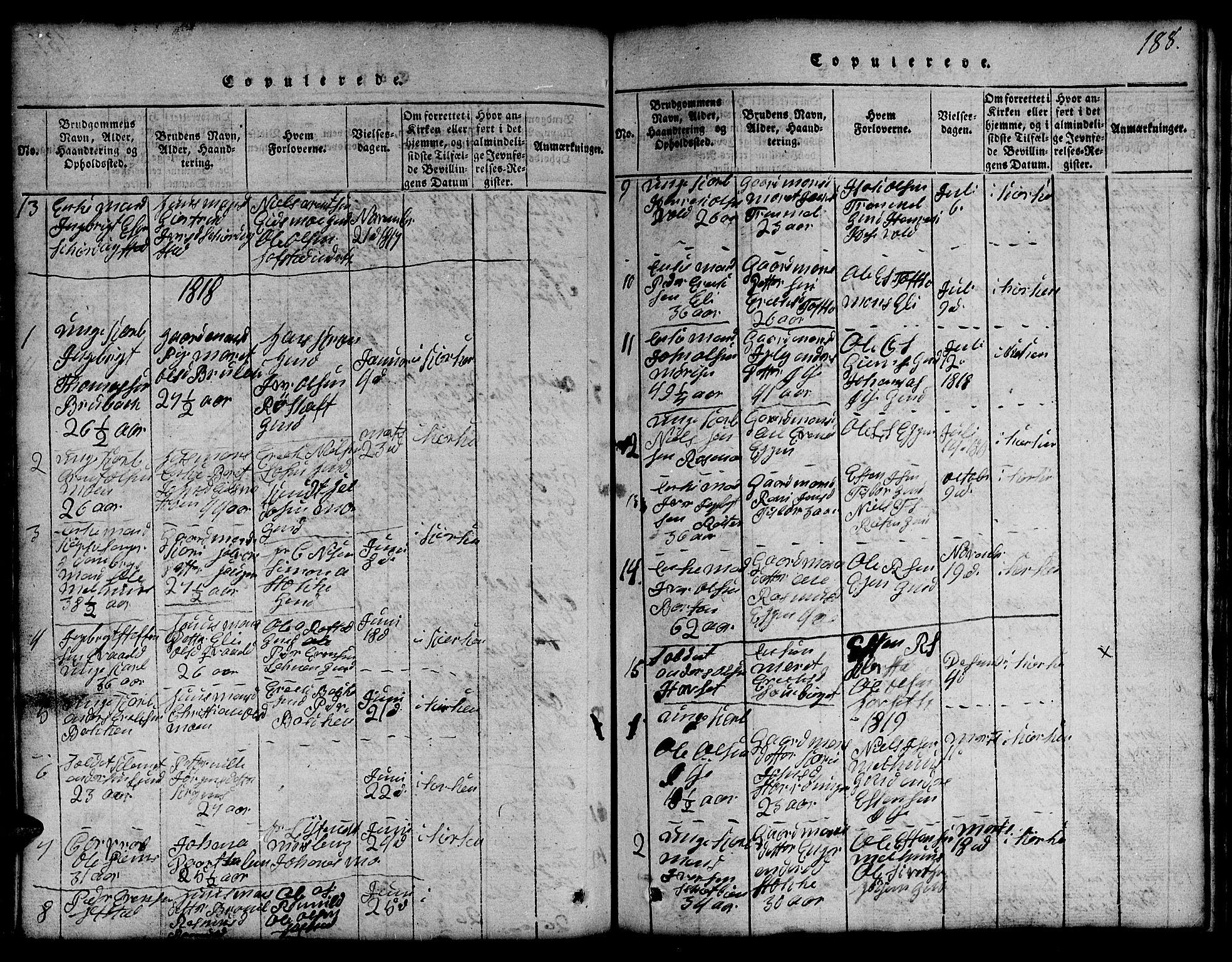 SAT, Ministerialprotokoller, klokkerbøker og fødselsregistre - Sør-Trøndelag, 691/L1092: Klokkerbok nr. 691C03, 1816-1852, s. 188