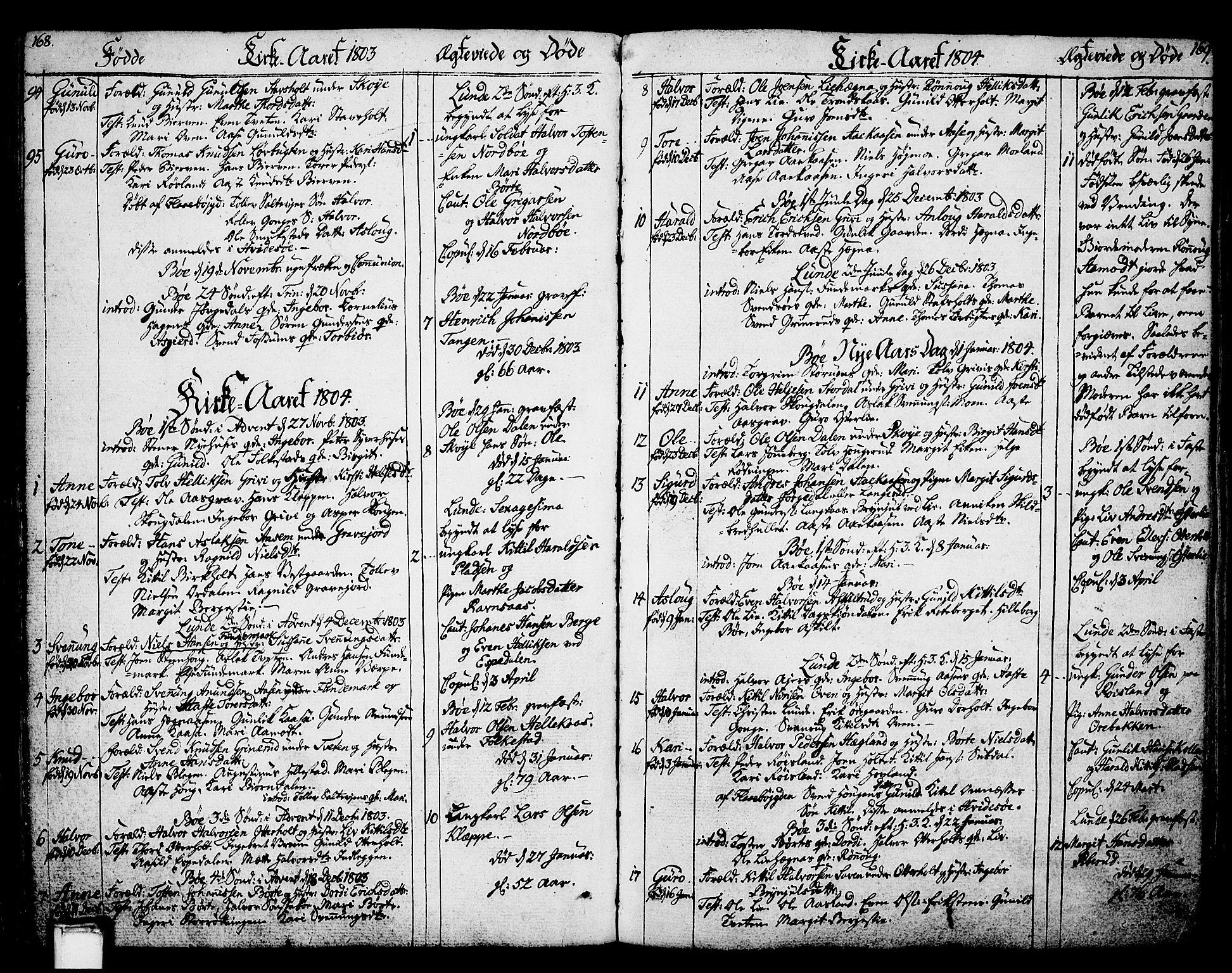 SAKO, Bø kirkebøker, F/Fa/L0005: Ministerialbok nr. 5, 1785-1815, s. 168-169