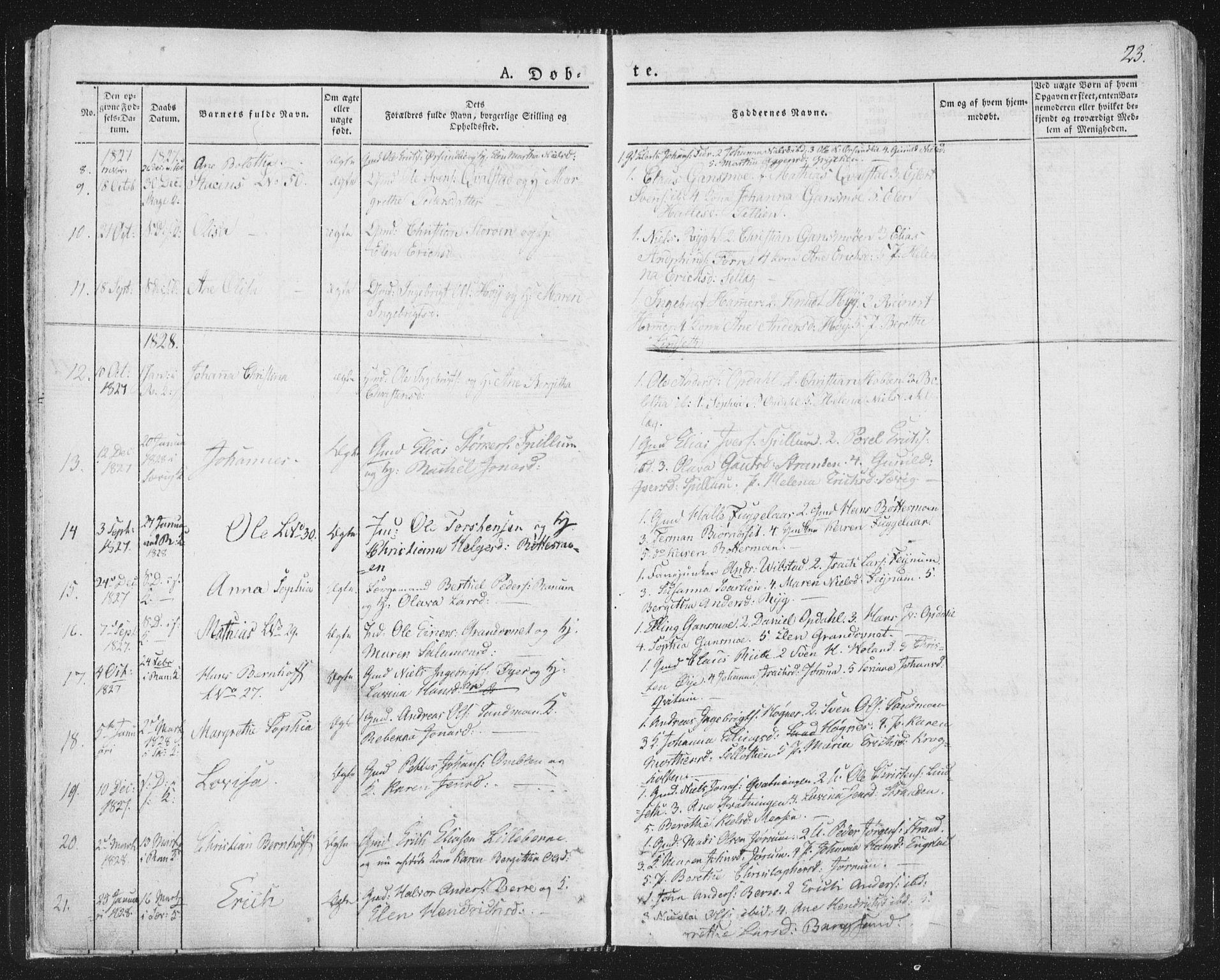 SAT, Ministerialprotokoller, klokkerbøker og fødselsregistre - Nord-Trøndelag, 764/L0551: Ministerialbok nr. 764A07a, 1824-1864, s. 23