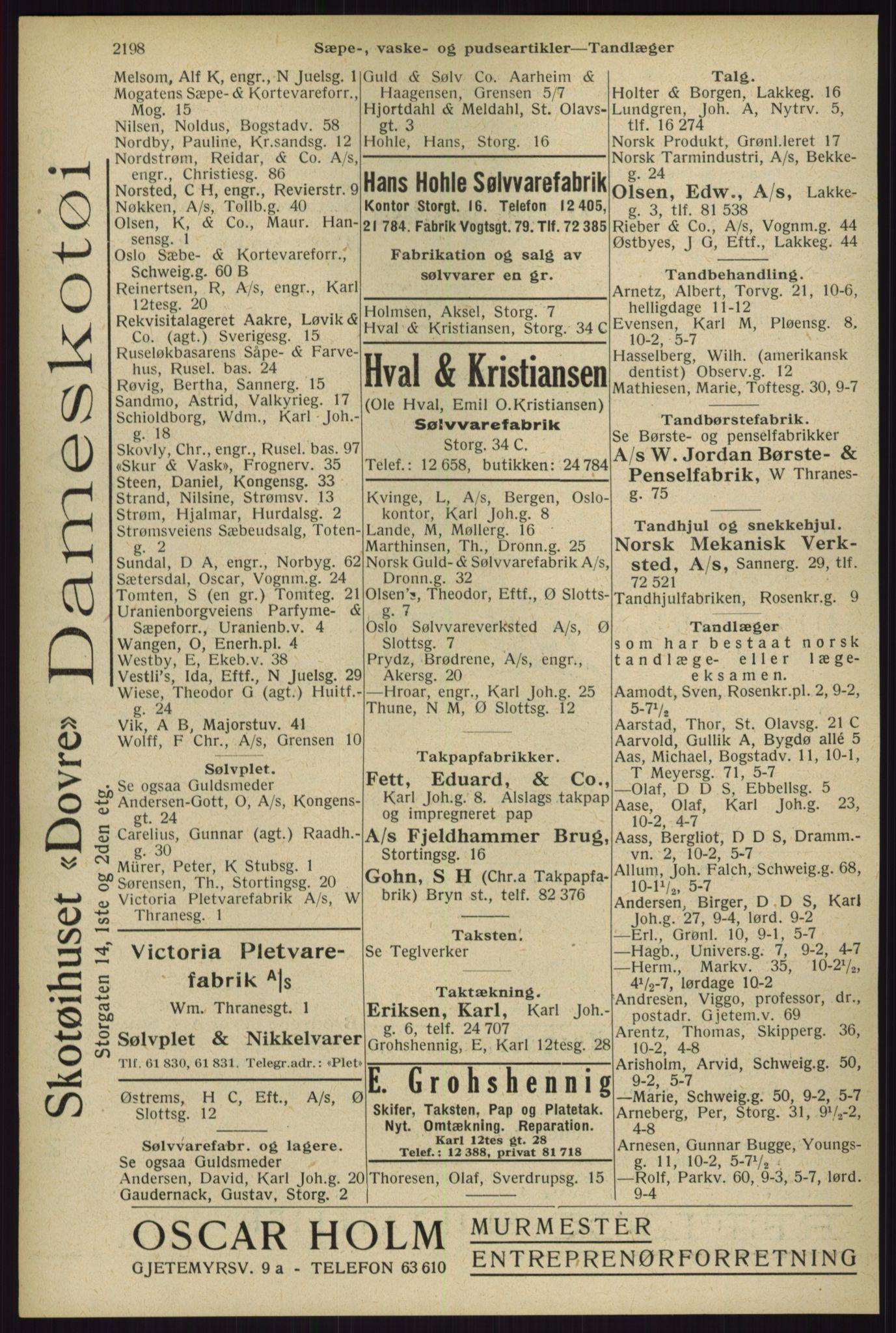 RA, Oslo adressebok (publikasjon)*, 1929, s. 2198