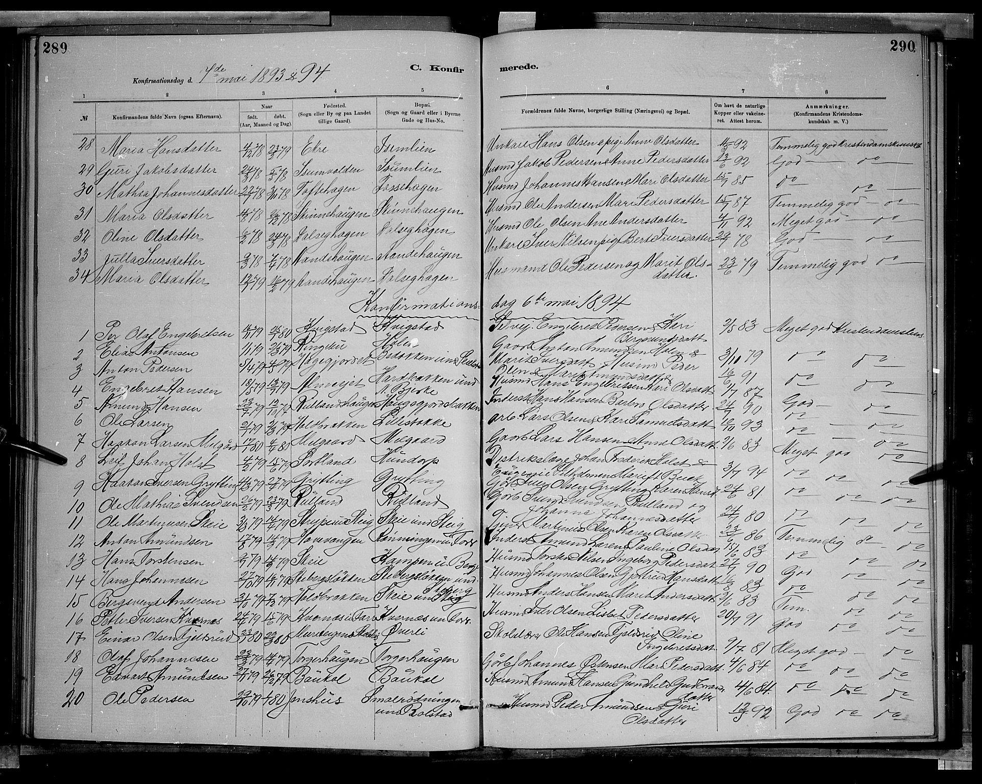 SAH, Sør-Fron prestekontor, H/Ha/Hab/L0003: Klokkerbok nr. 3, 1884-1896, s. 289-290