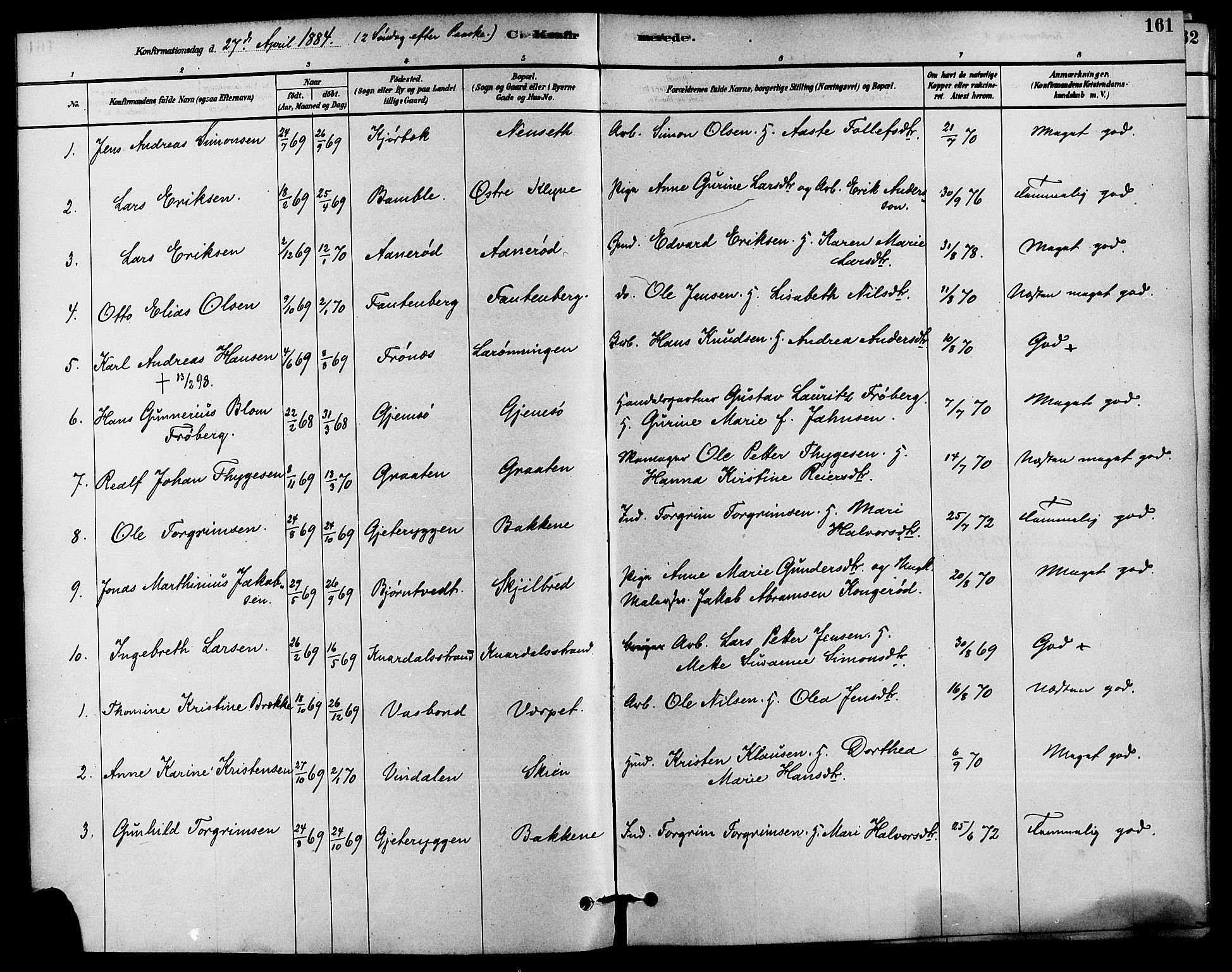 SAKO, Solum kirkebøker, F/Fa/L0009: Ministerialbok nr. I 9, 1877-1887, s. 161