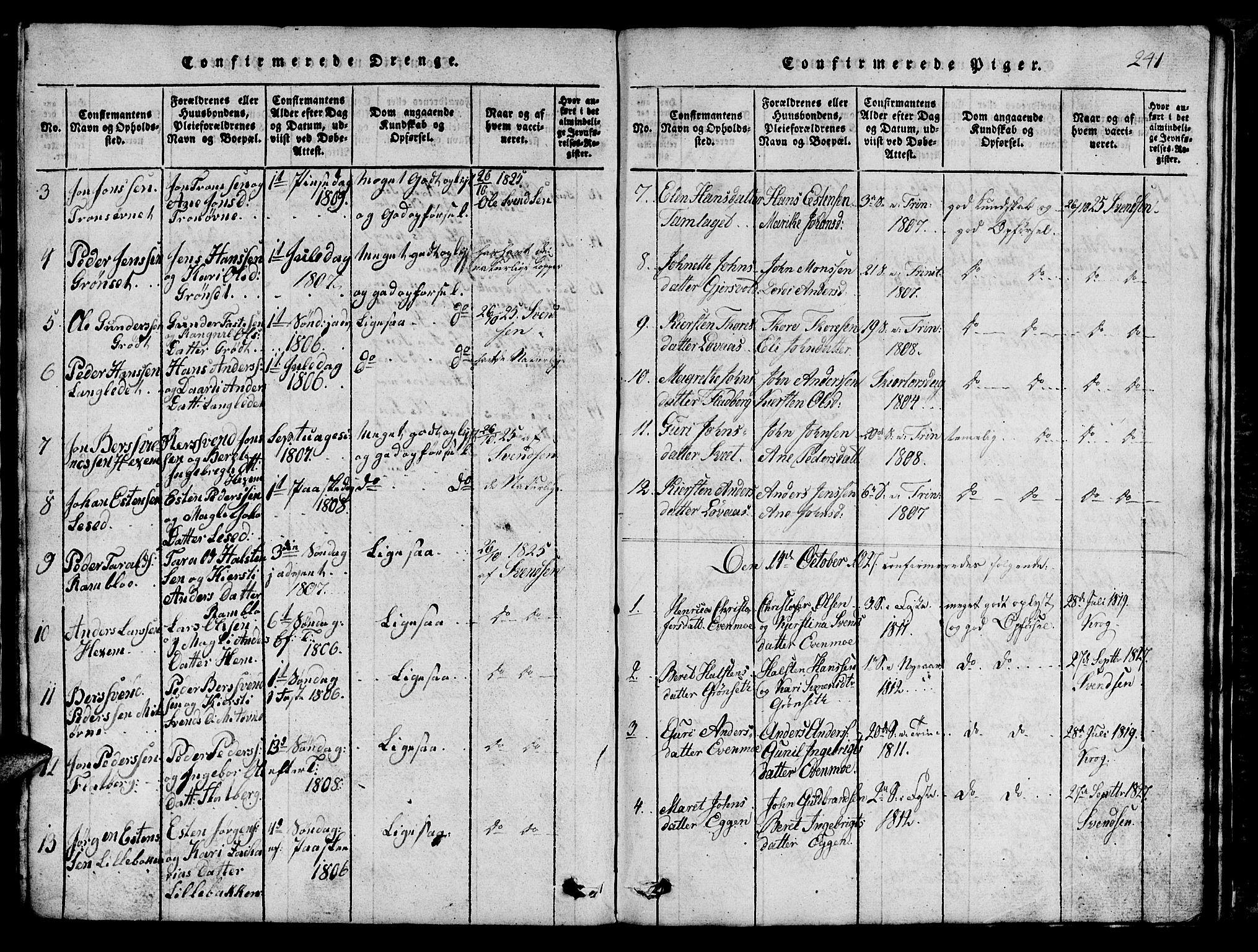 SAT, Ministerialprotokoller, klokkerbøker og fødselsregistre - Sør-Trøndelag, 685/L0976: Klokkerbok nr. 685C01, 1817-1878, s. 241