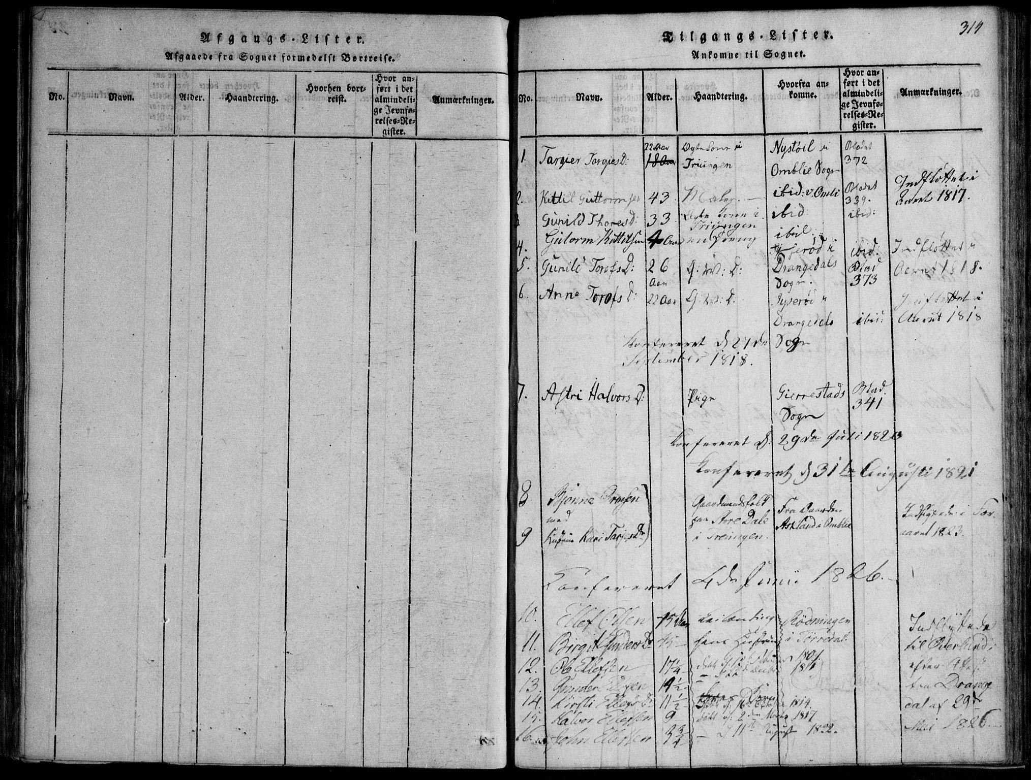 SAKO, Nissedal kirkebøker, F/Fb/L0001: Ministerialbok nr. II 1, 1814-1845, s. 314