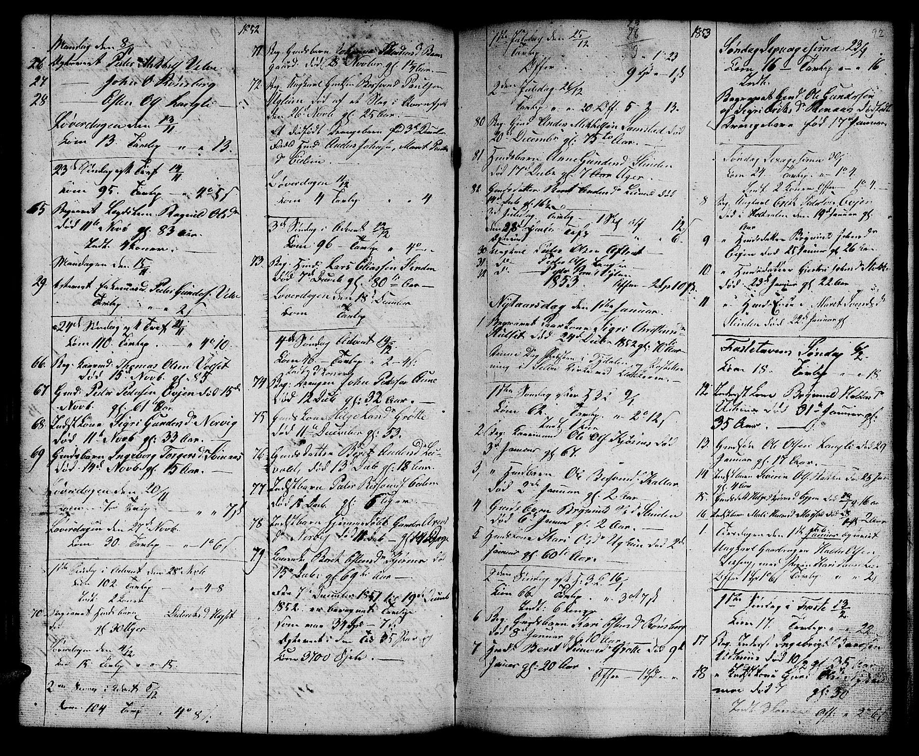 SAT, Ministerialprotokoller, klokkerbøker og fødselsregistre - Sør-Trøndelag, 695/L1154: Klokkerbok nr. 695C05, 1842-1858, s. 92