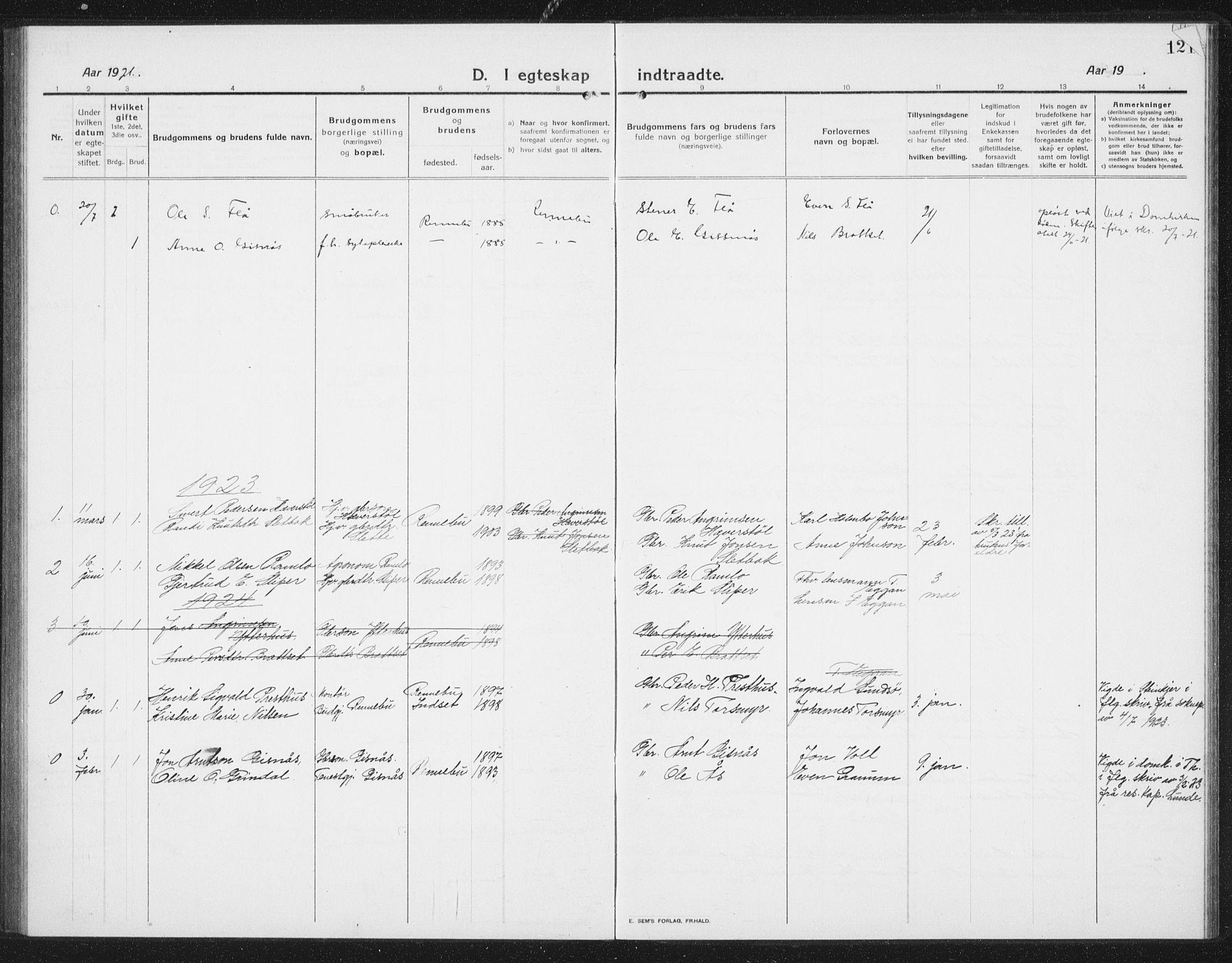 SAT, Ministerialprotokoller, klokkerbøker og fødselsregistre - Sør-Trøndelag, 675/L0888: Klokkerbok nr. 675C01, 1913-1935, s. 121