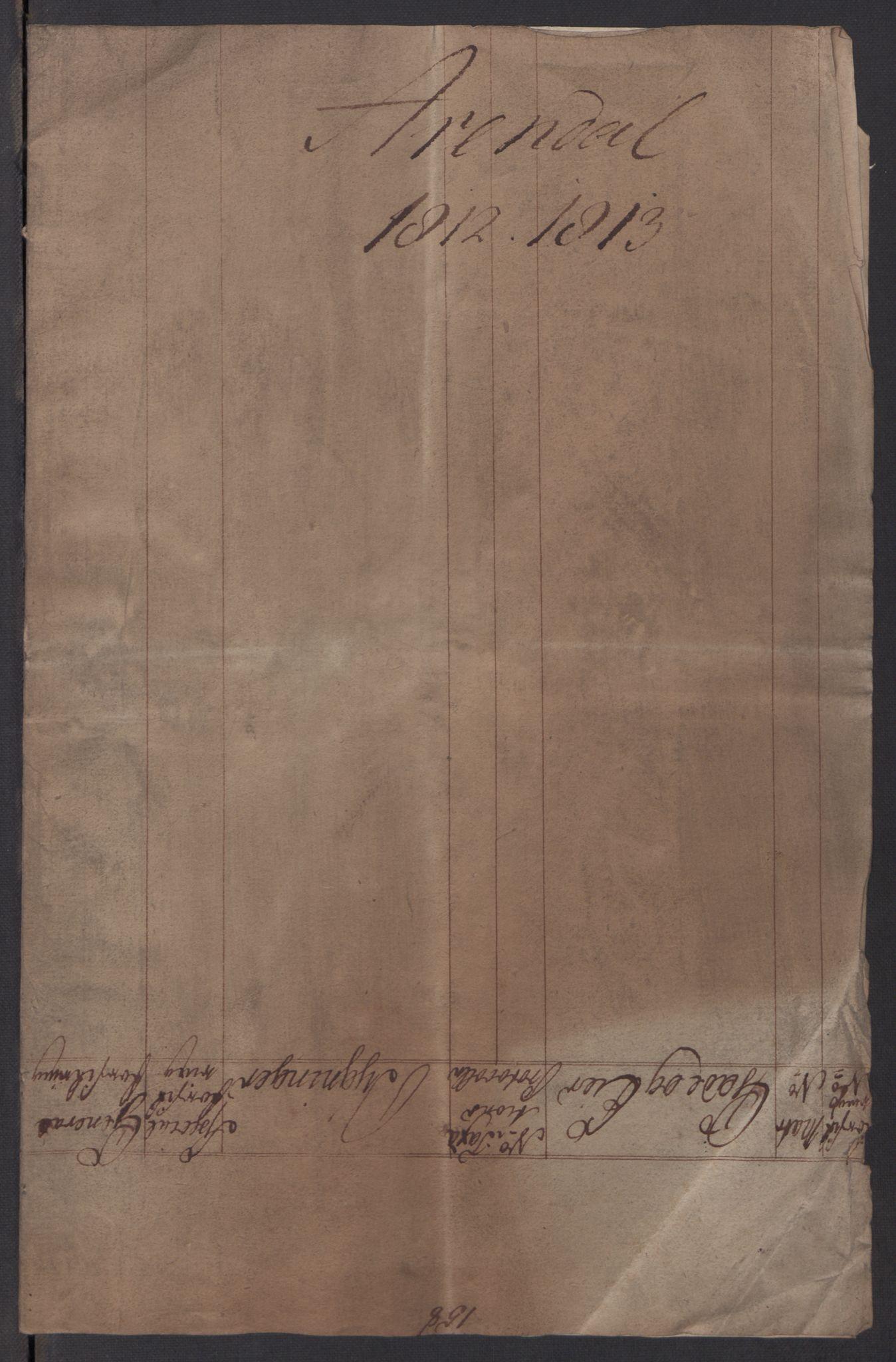RA, Kommersekollegiet, Brannforsikringskontoret 1767-1814, F/Fa/L0003: Arendal, 1808-1813