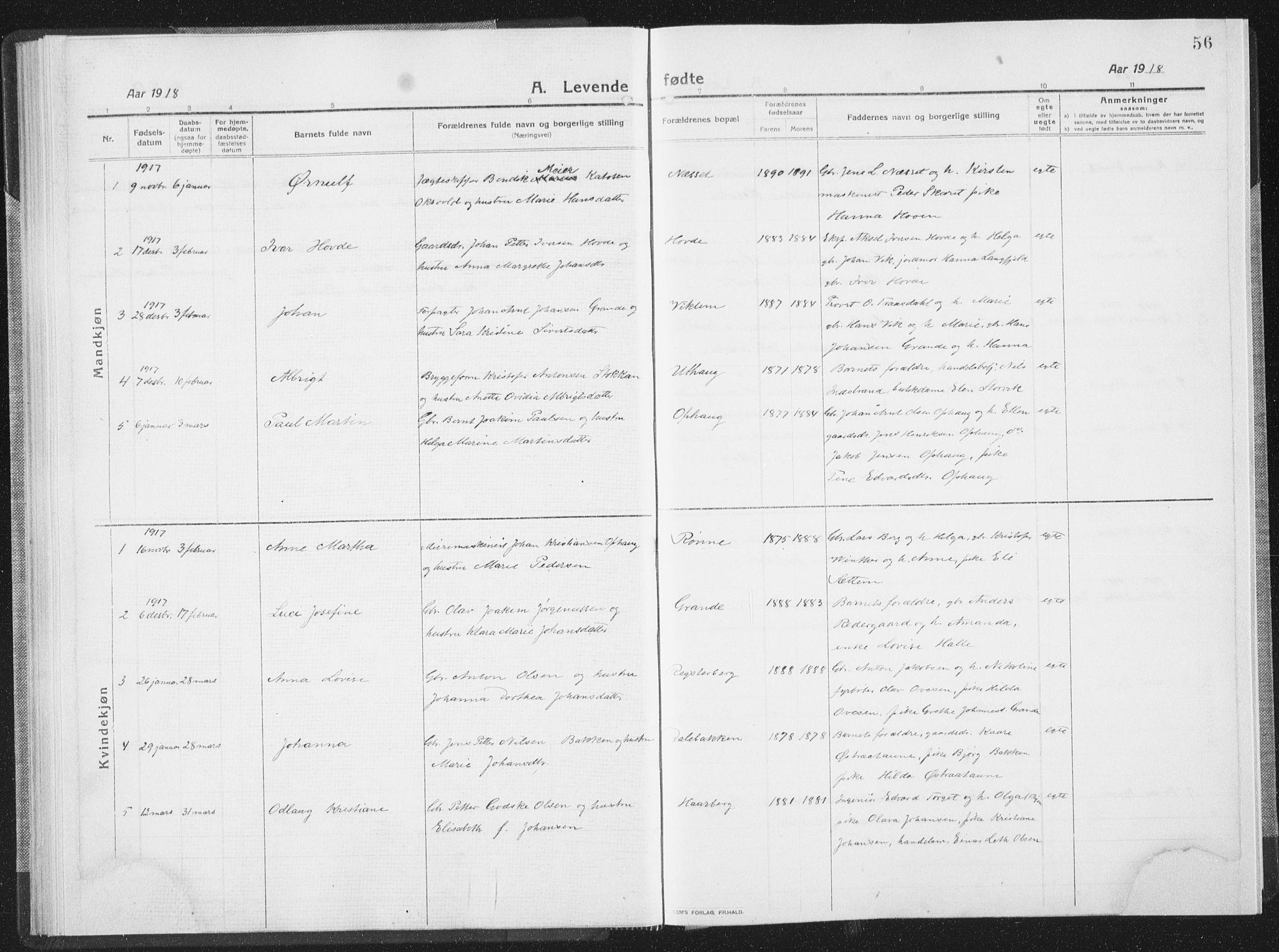 SAT, Ministerialprotokoller, klokkerbøker og fødselsregistre - Sør-Trøndelag, 659/L0747: Klokkerbok nr. 659C04, 1913-1938, s. 56