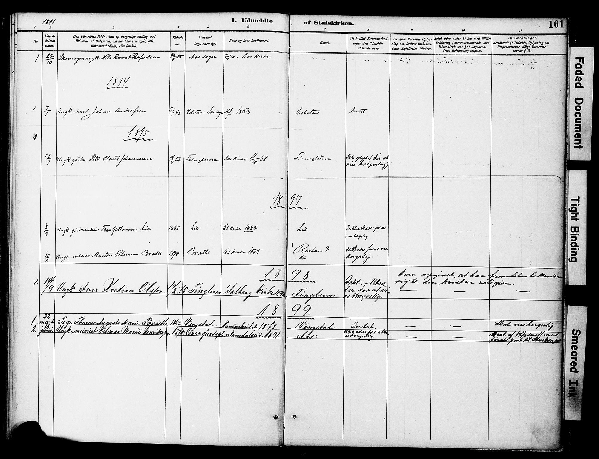 SAT, Ministerialprotokoller, klokkerbøker og fødselsregistre - Nord-Trøndelag, 742/L0409: Ministerialbok nr. 742A02, 1891-1905, s. 161