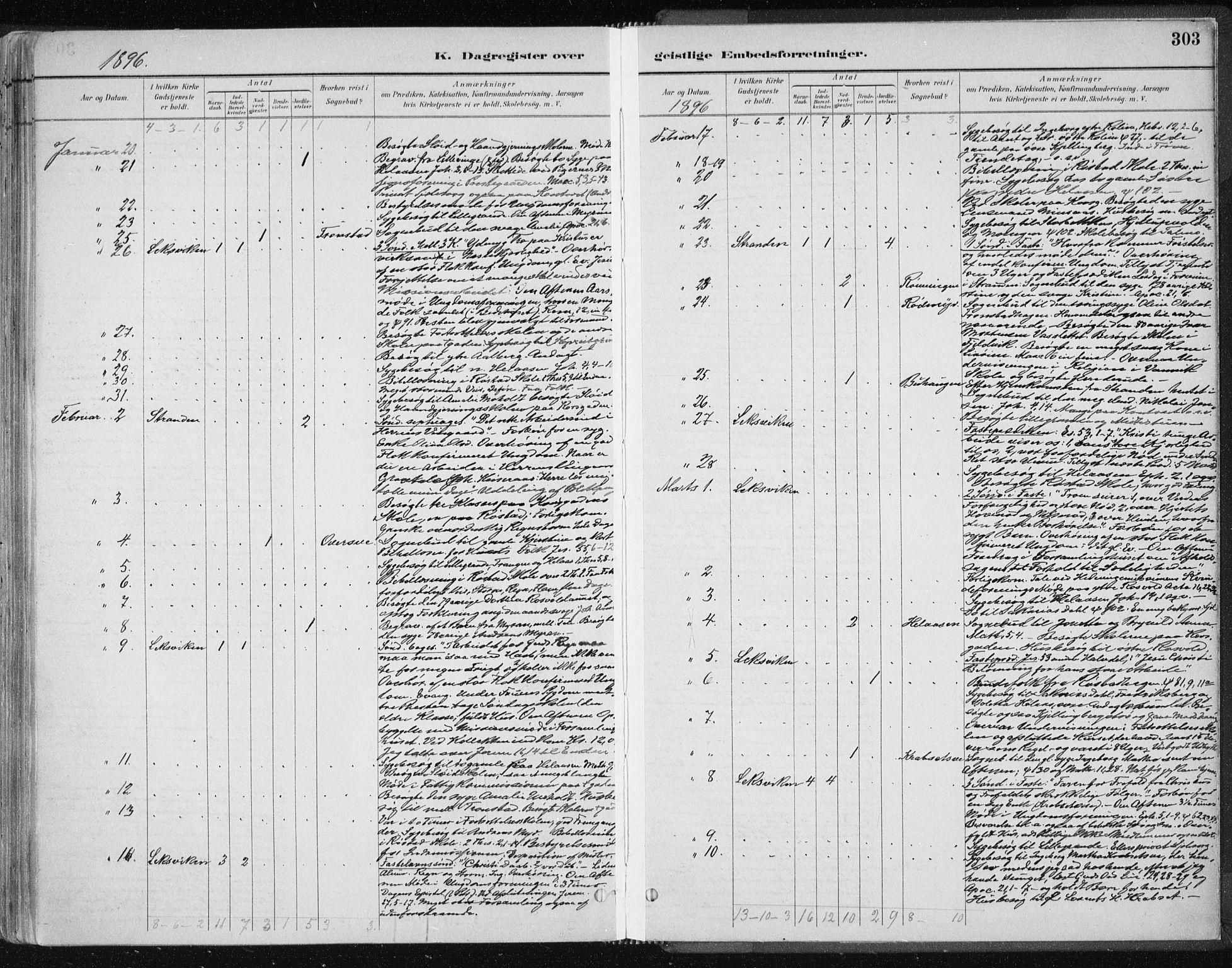 SAT, Ministerialprotokoller, klokkerbøker og fødselsregistre - Nord-Trøndelag, 701/L0010: Ministerialbok nr. 701A10, 1883-1899, s. 303