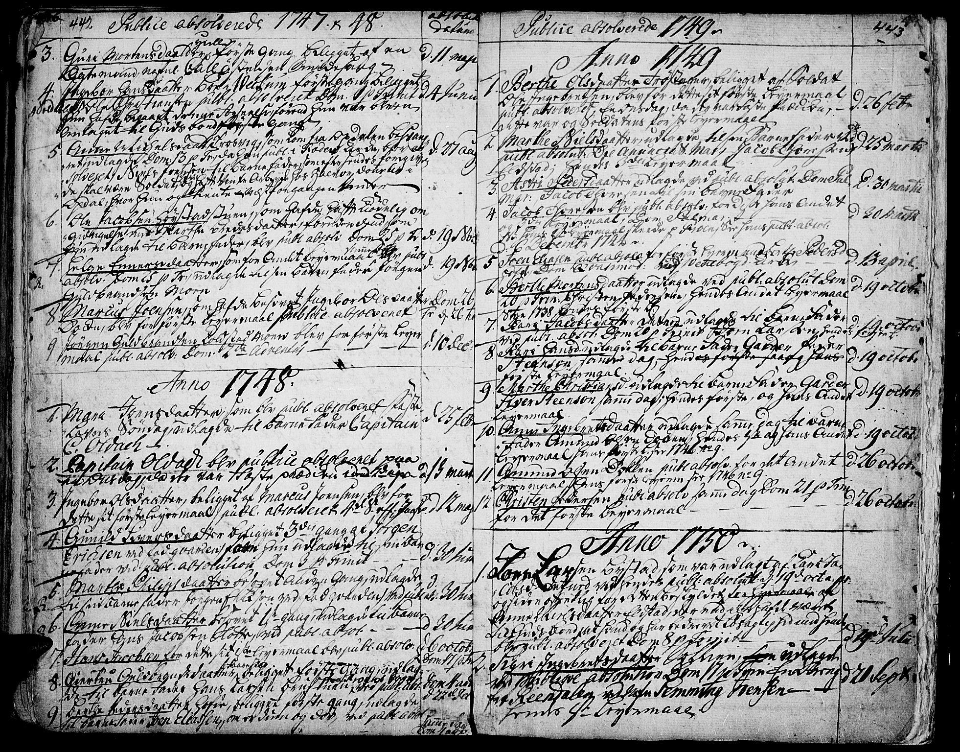 SAH, Ringebu prestekontor, Ministerialbok nr. 2, 1734-1780, s. 442-443