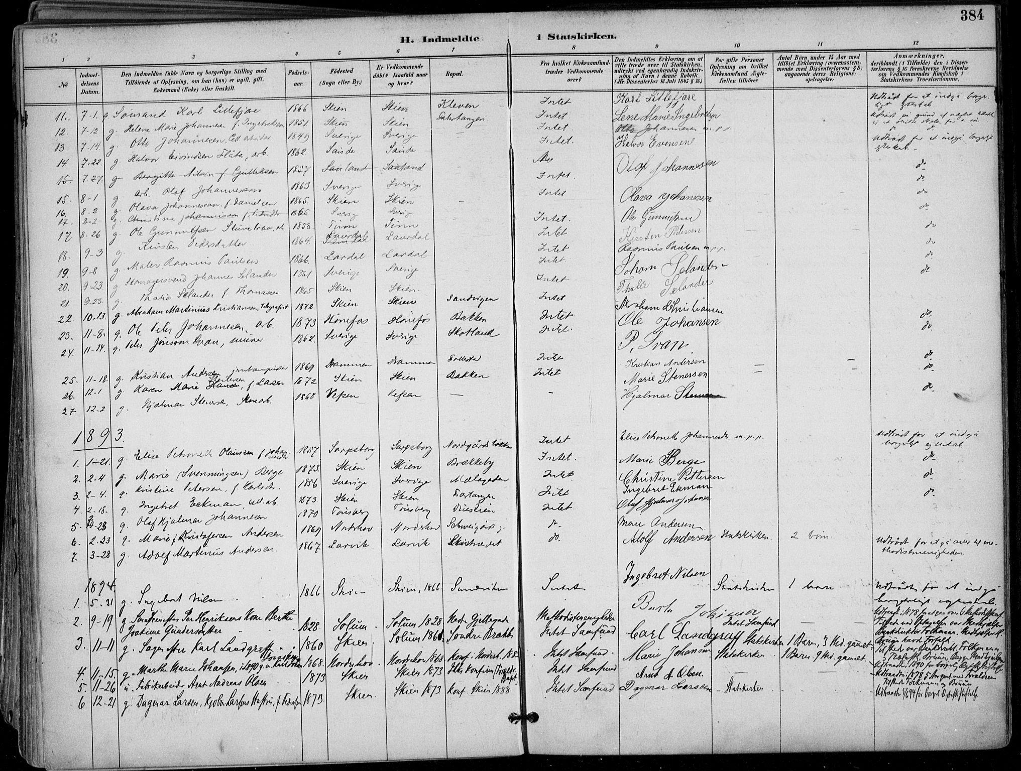 SAKO, Skien kirkebøker, F/Fa/L0010: Ministerialbok nr. 10, 1891-1899, s. 384