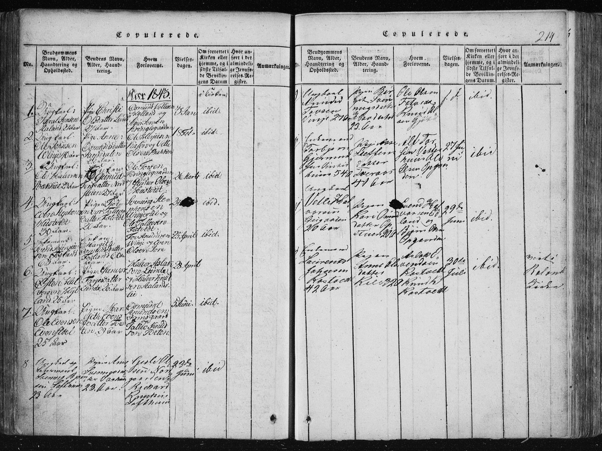 SAKO, Vinje kirkebøker, F/Fa/L0003: Ministerialbok nr. I 3, 1814-1843, s. 214