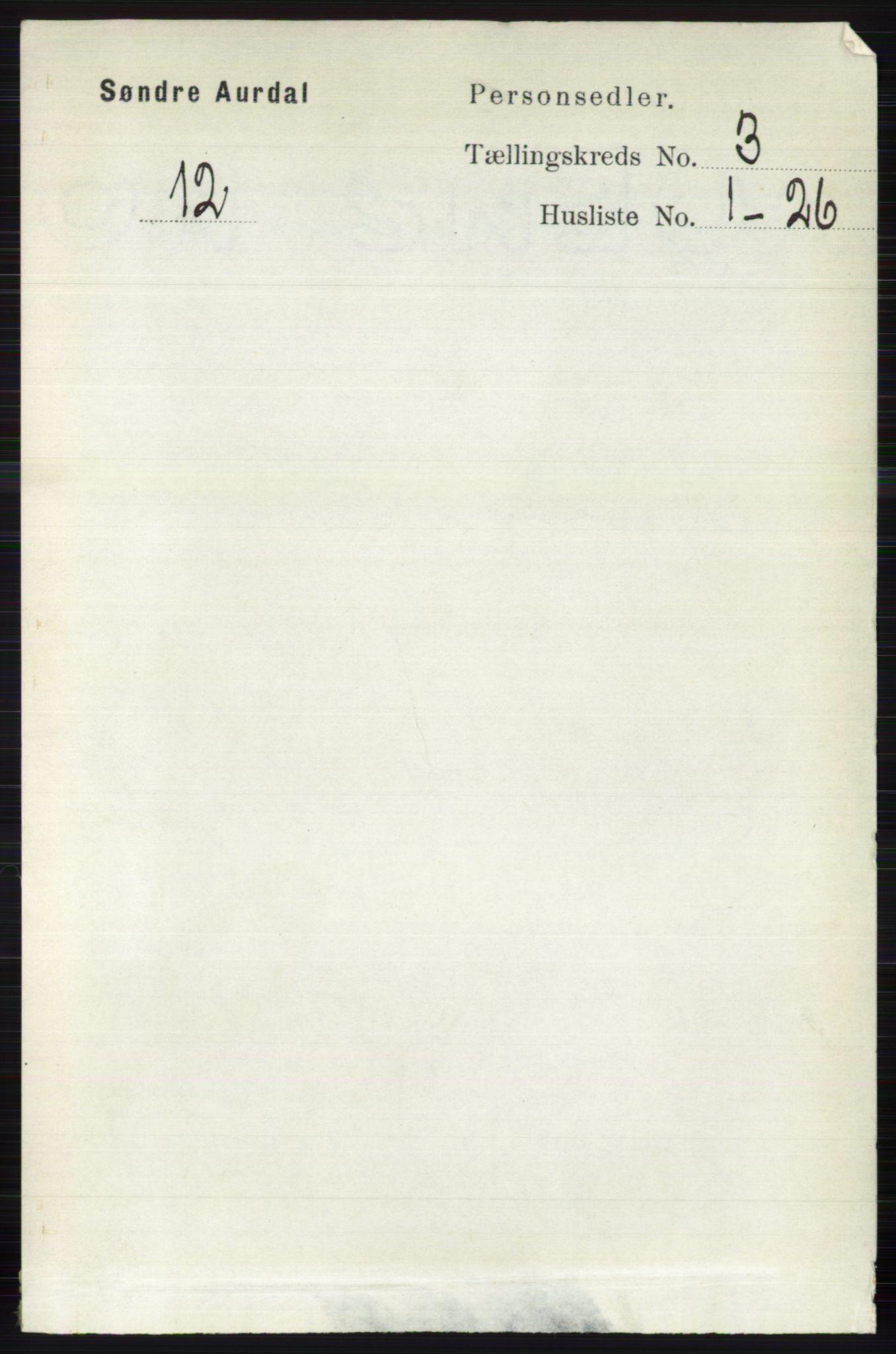 RA, Folketelling 1891 for 0540 Sør-Aurdal herred, 1891, s. 1668