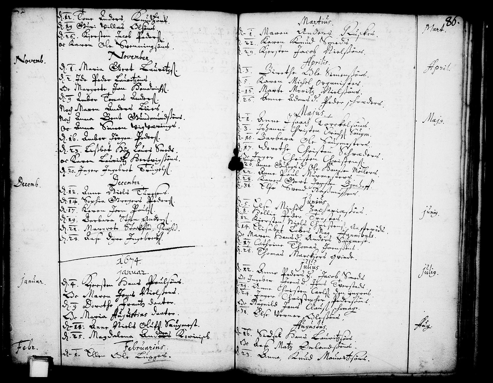 SAKO, Skien kirkebøker, F/Fa/L0001: Ministerialbok nr. 1, 1659-1679, s. 86
