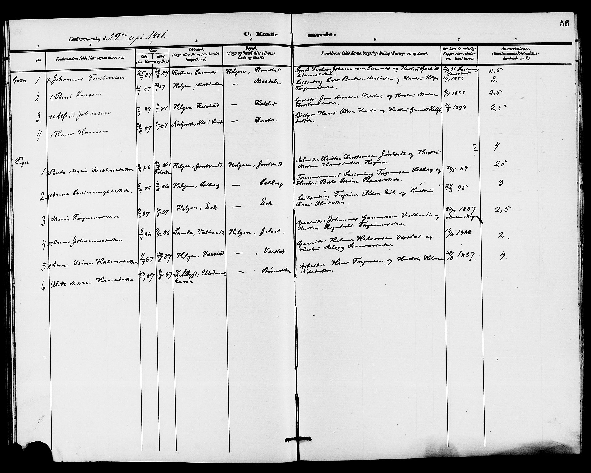 SAKO, Holla kirkebøker, G/Gb/L0002: Klokkerbok nr. II 2, 1897-1913, s. 56