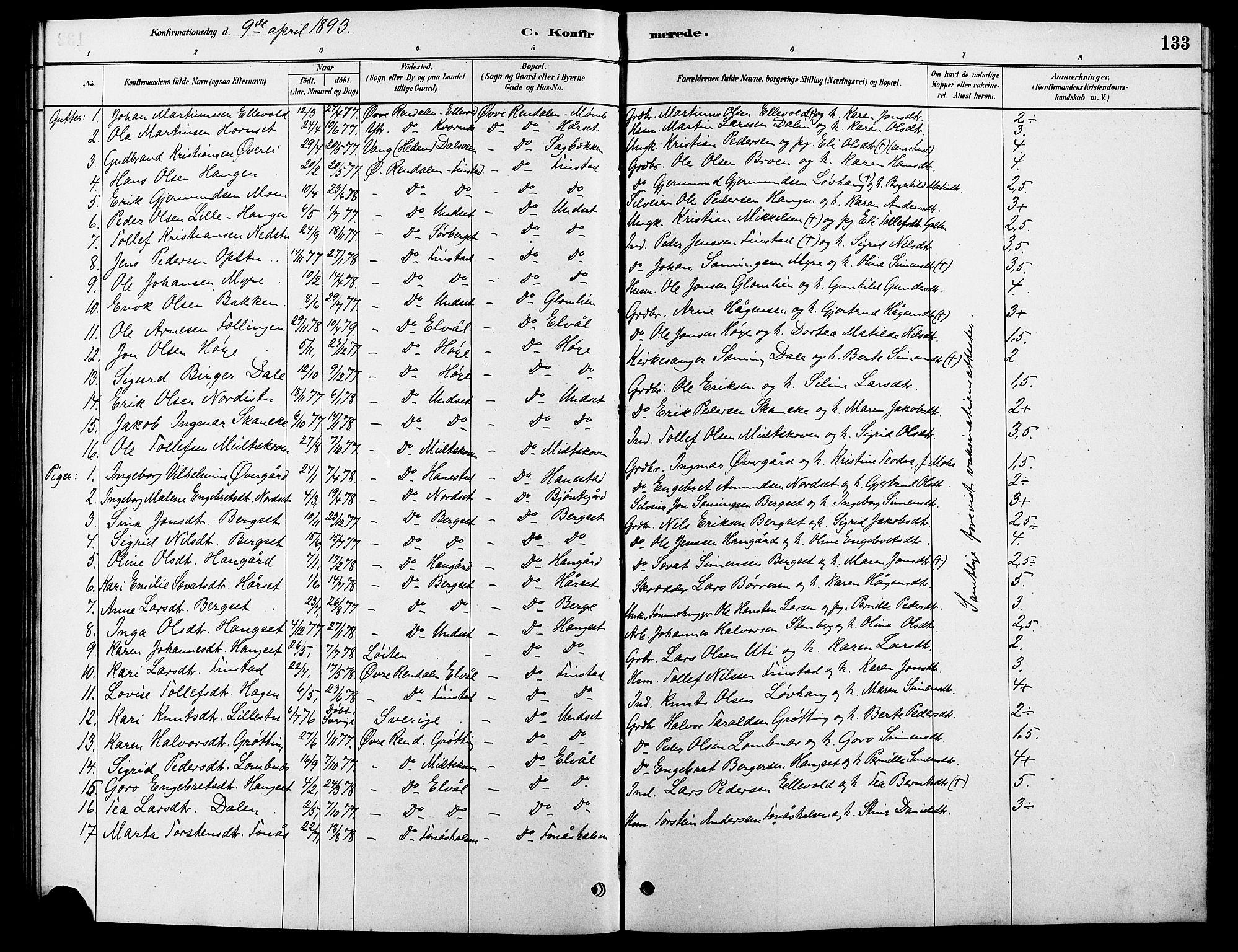 SAH, Rendalen prestekontor, H/Ha/Hab/L0003: Klokkerbok nr. 3, 1879-1904, s. 133