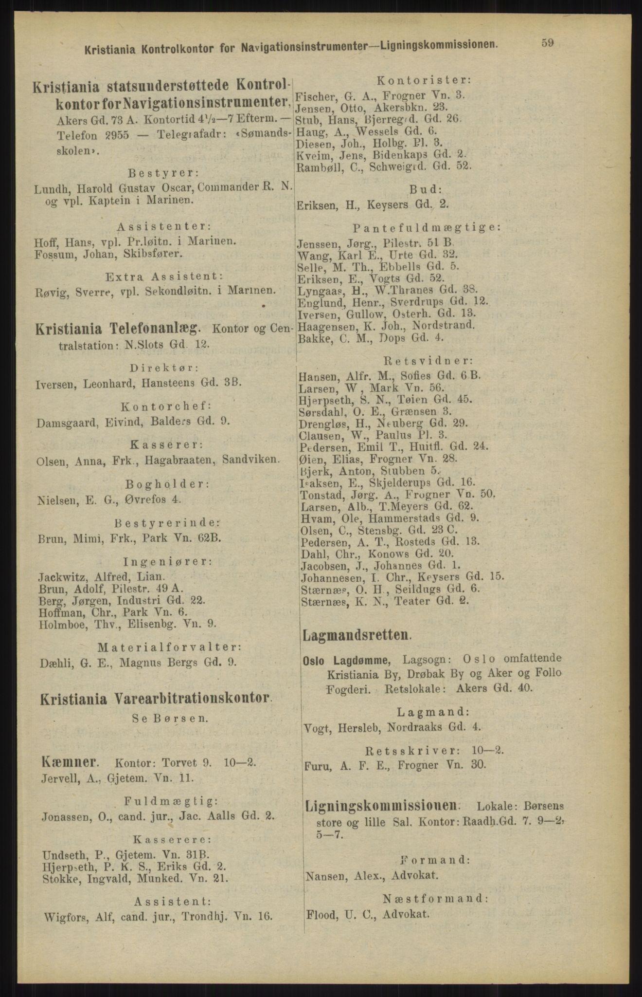 RA, Kristiania adressebok (publikasjon)*, 1904, s. 59