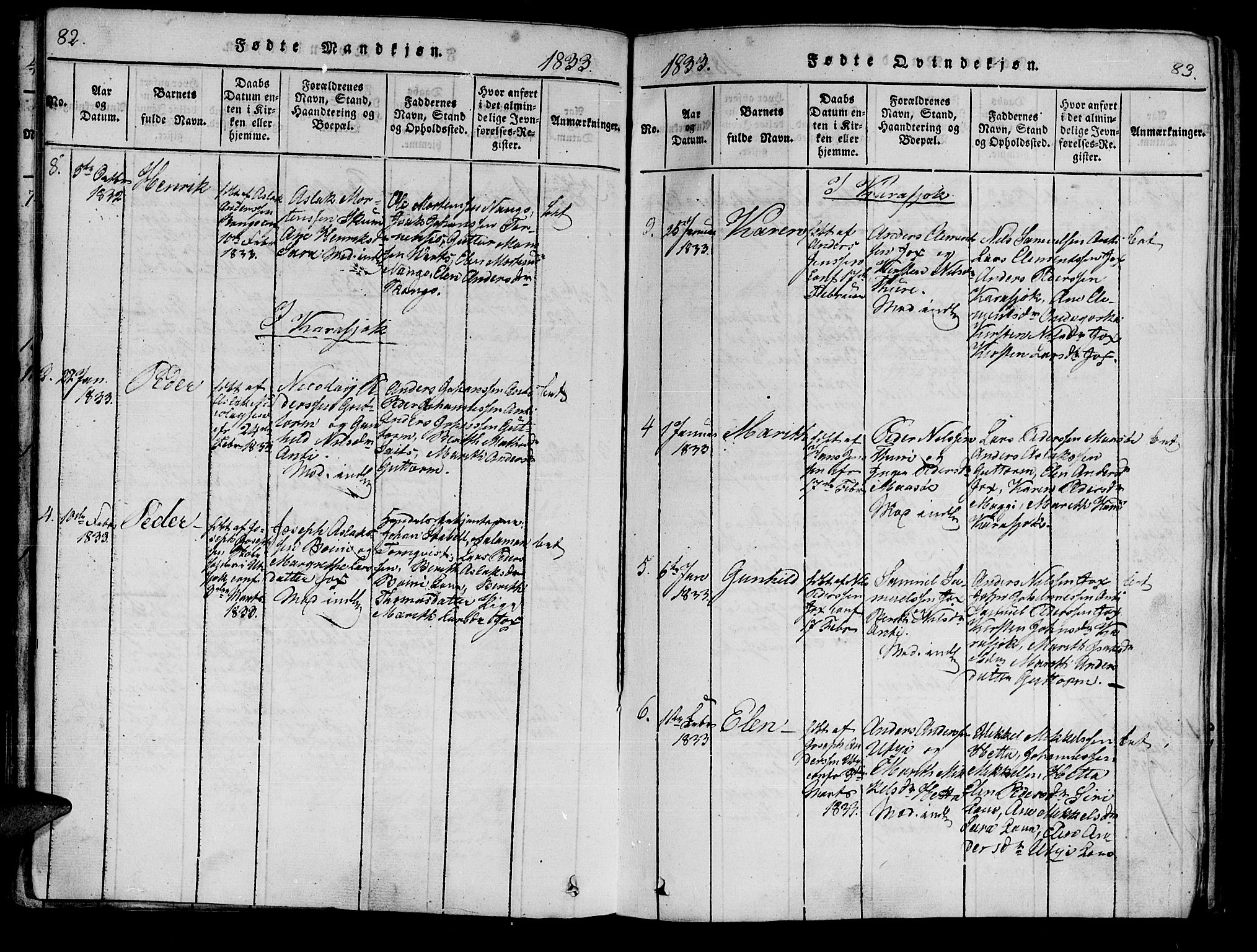SATØ, Kistrand/Porsanger sokneprestembete, Ministerialbok nr. 10, 1821-1842, s. 82-83