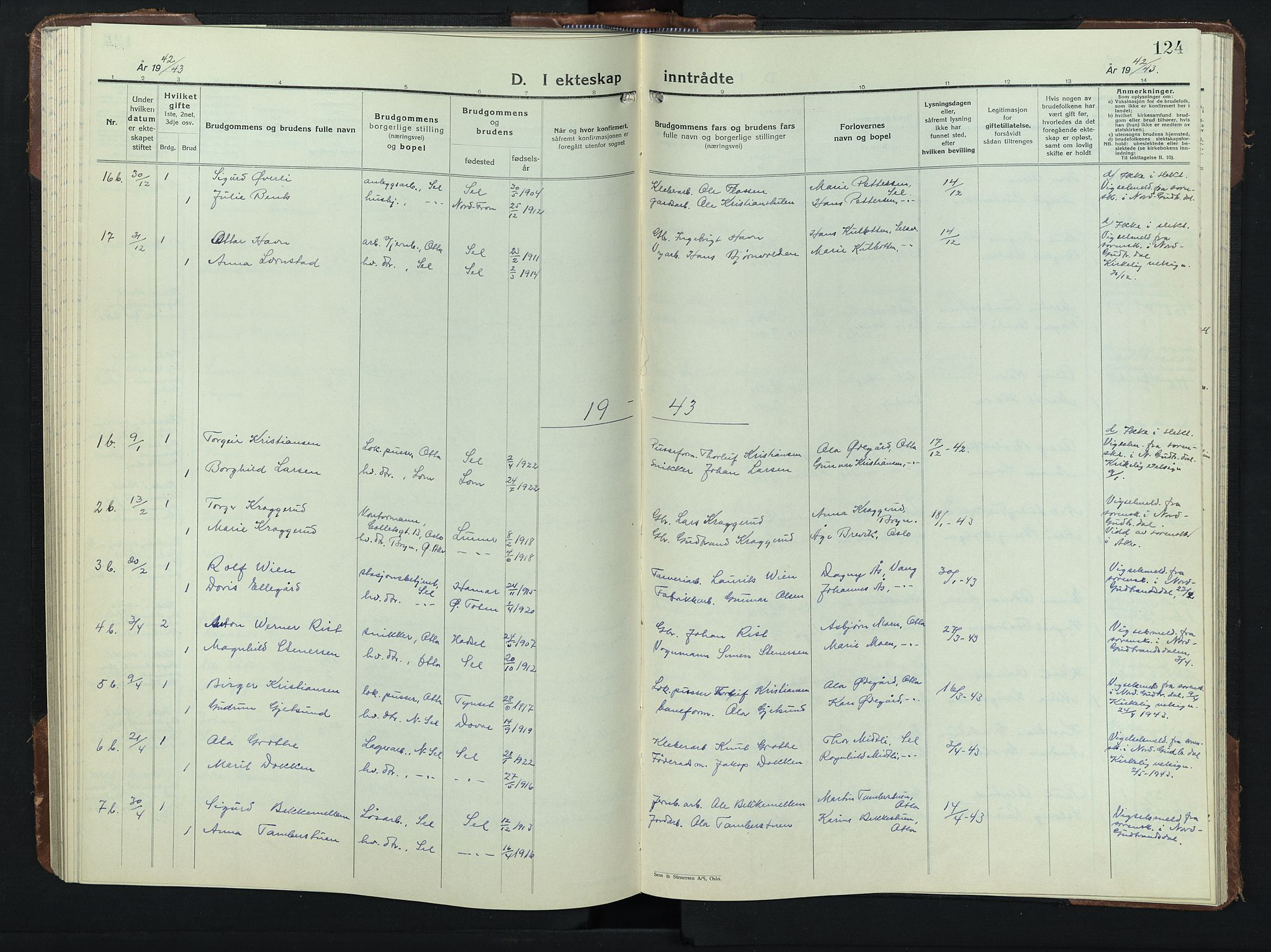 SAH, Sel prestekontor, Klokkerbok nr. 3, 1940-1951, s. 124