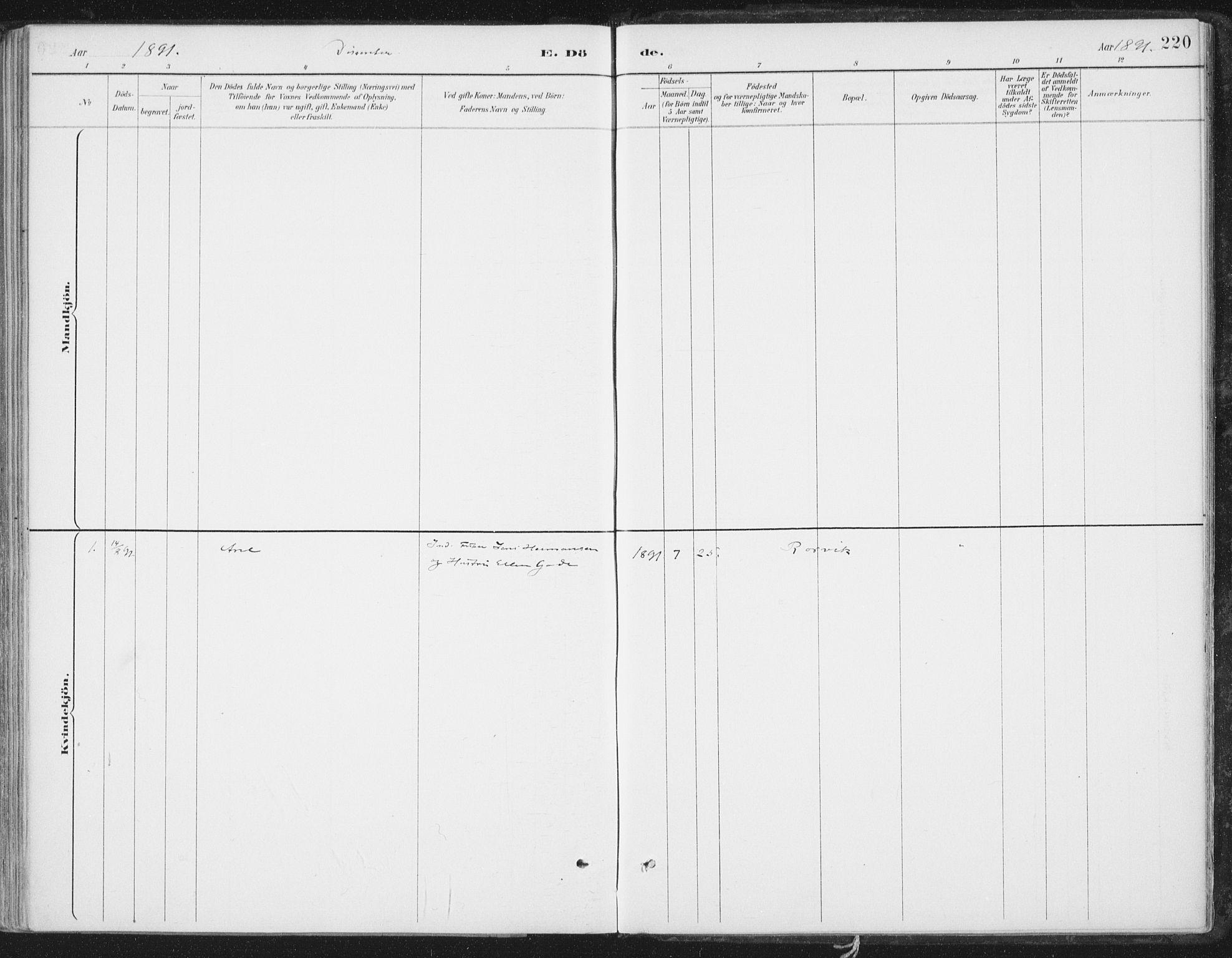 SAT, Ministerialprotokoller, klokkerbøker og fødselsregistre - Nord-Trøndelag, 786/L0687: Ministerialbok nr. 786A03, 1888-1898, s. 220