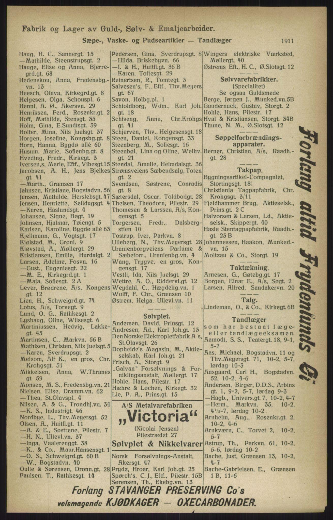 RA, Kristiania adressebok (publikasjon)*, 1915, s. 1911