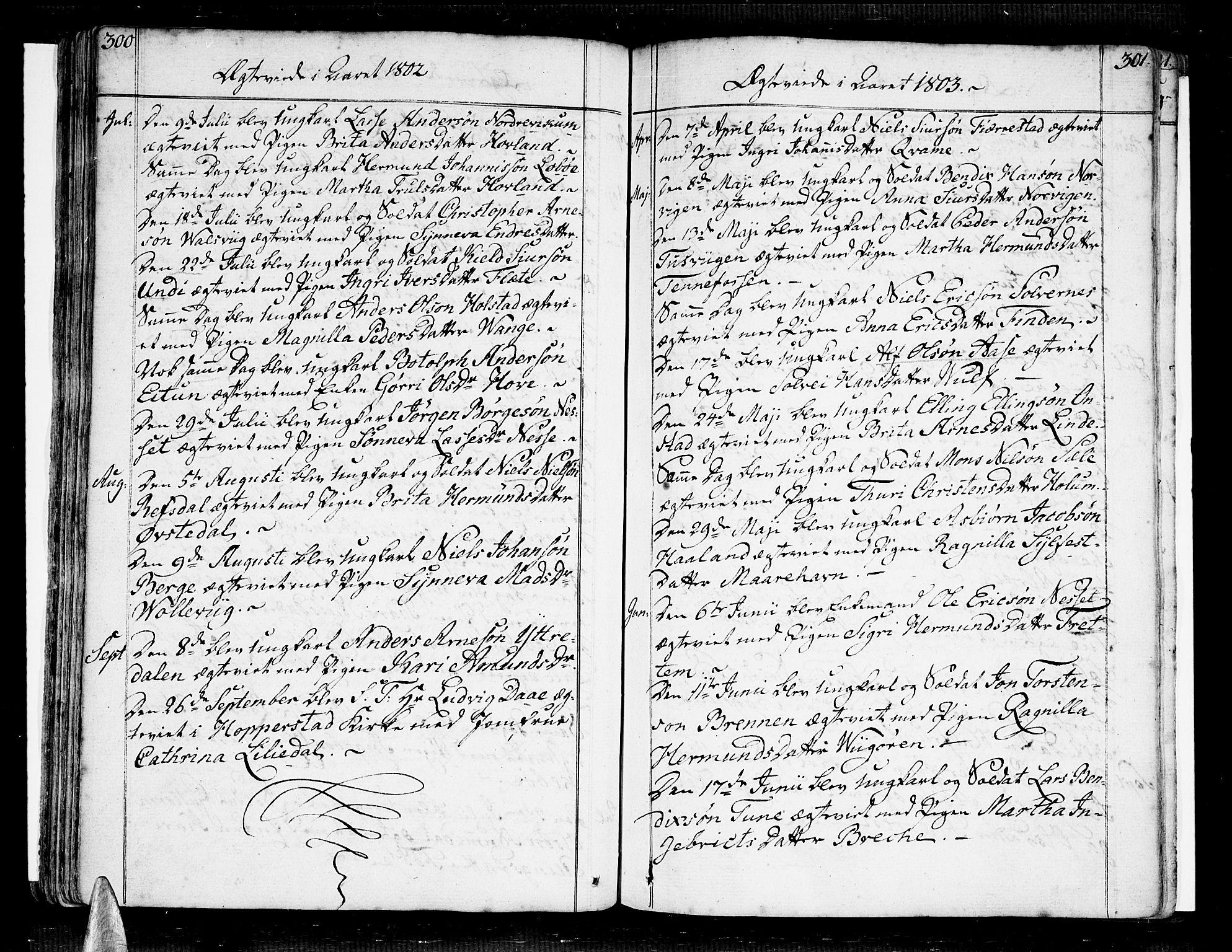 SAB, Vik Sokneprestembete, Ministerialbok nr. A 5, 1787-1820, s. 300-301