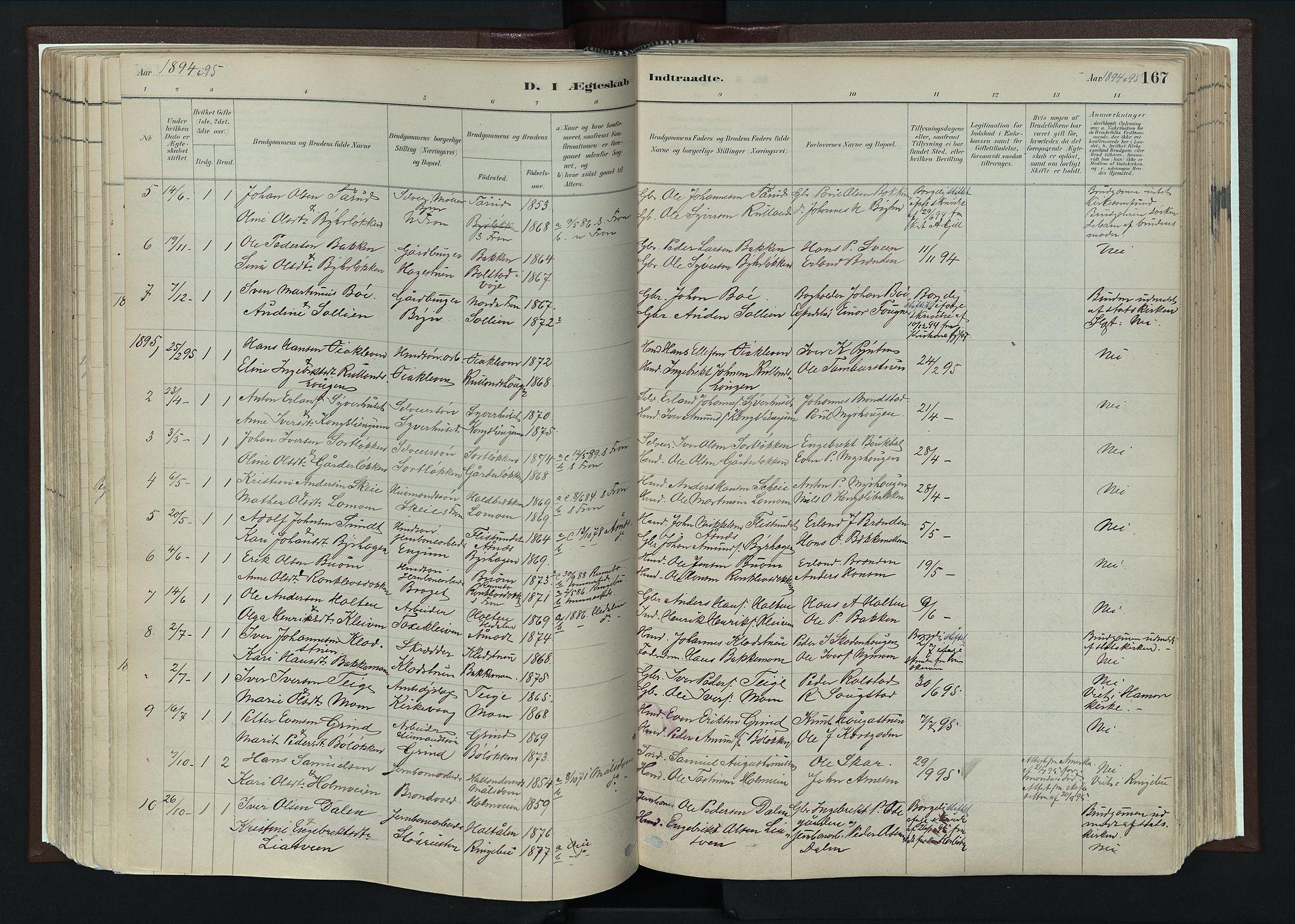 SAH, Nord-Fron prestekontor, Ministerialbok nr. 4, 1884-1914, s. 167