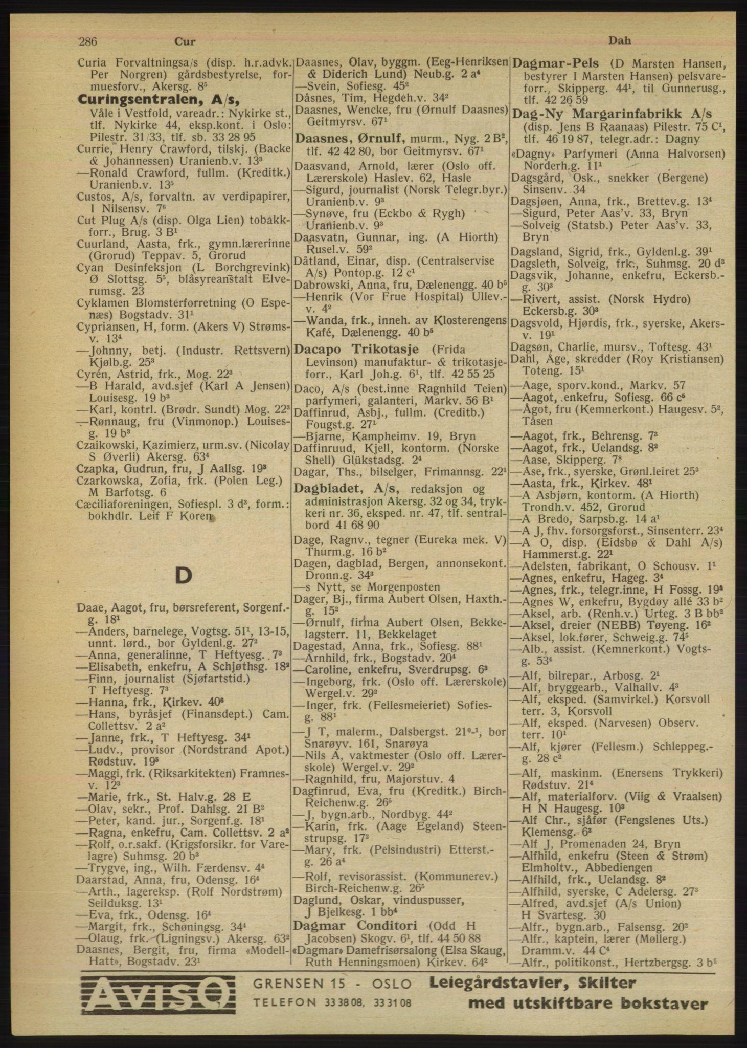 PUBL, Kristiania/Oslo adressebok, 1949, s. 286