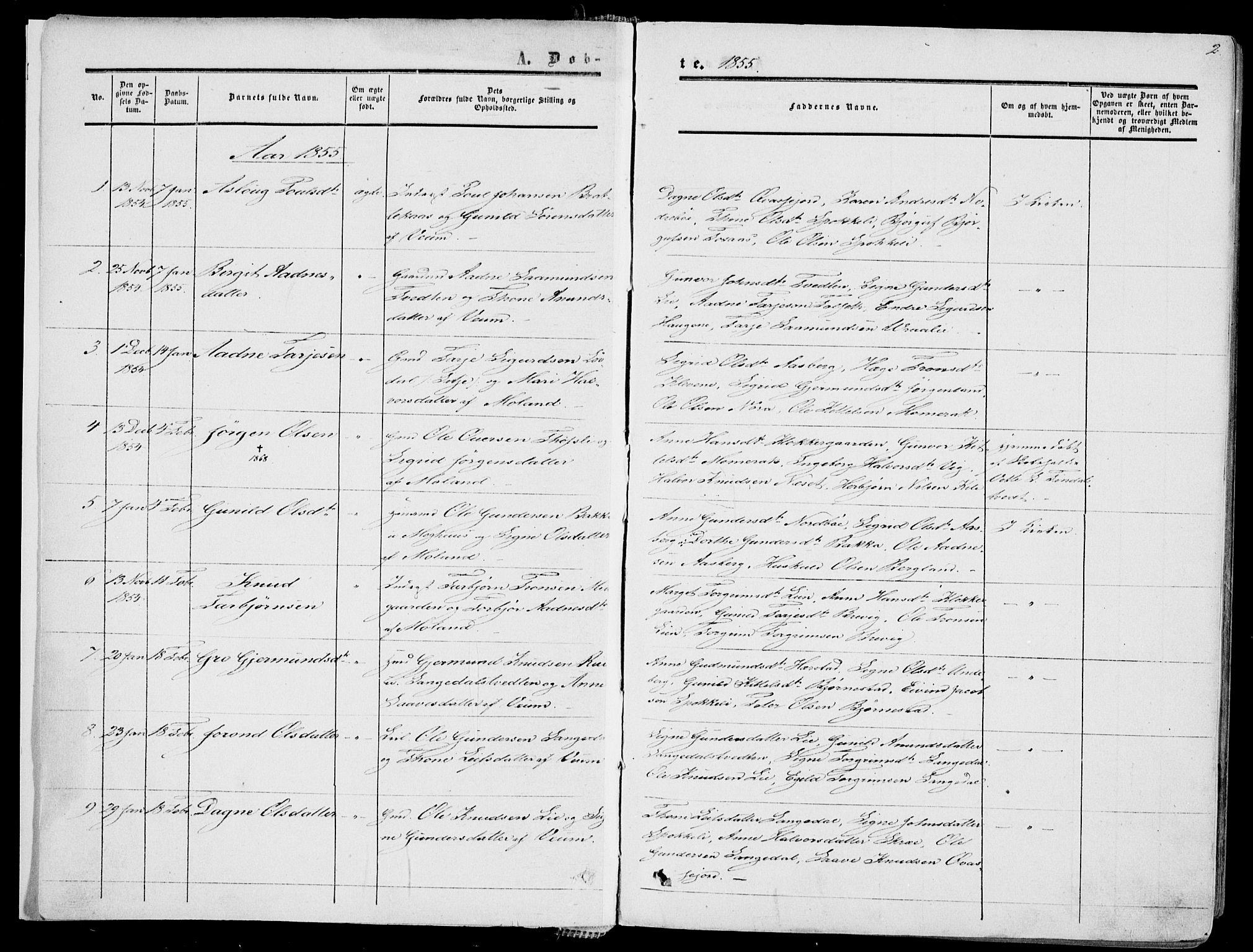 SAKO, Fyresdal kirkebøker, F/Fa/L0005: Ministerialbok nr. I 5, 1855-1871, s. 2