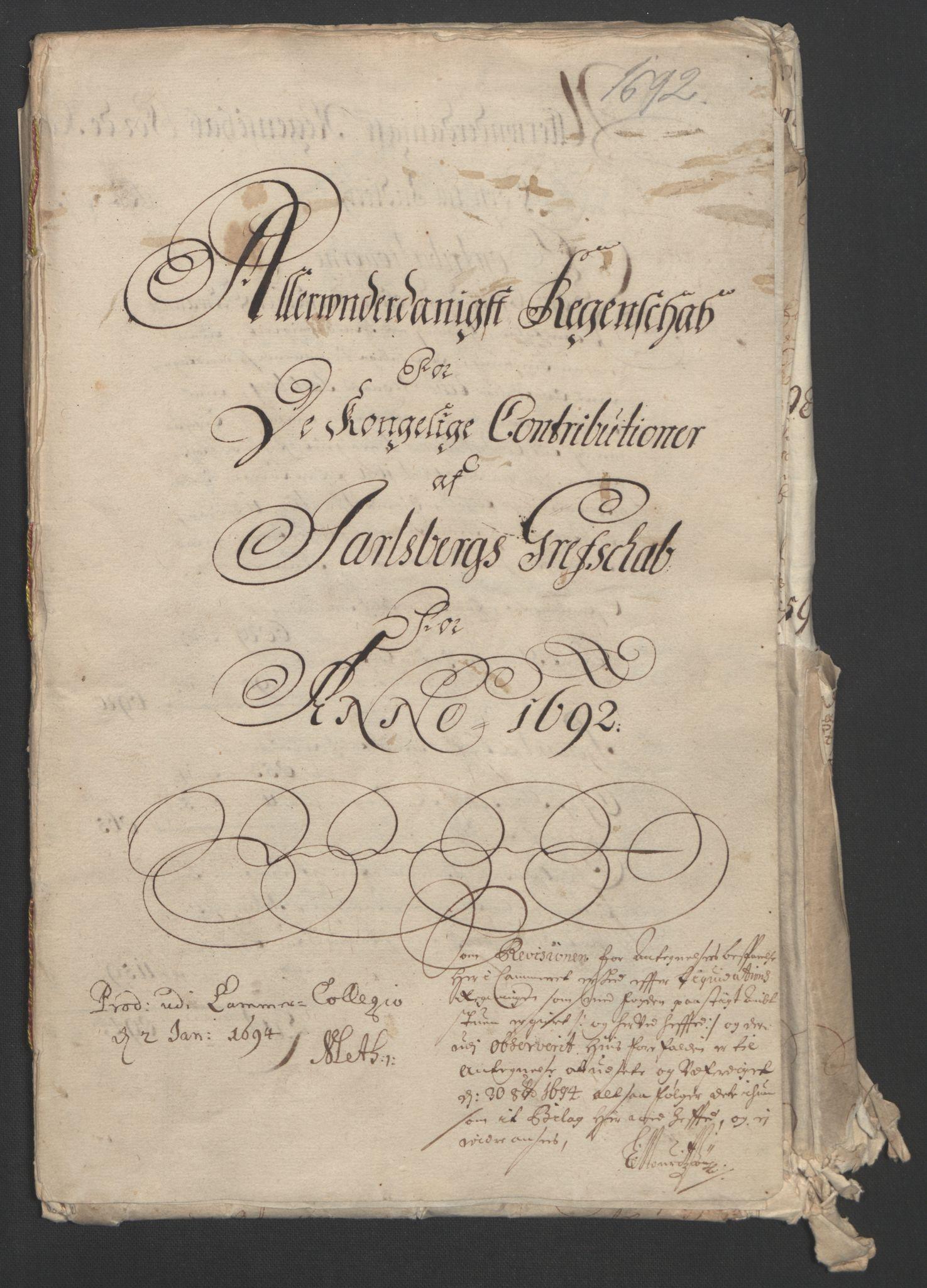 RA, Rentekammeret inntil 1814, Reviderte regnskaper, Fogderegnskap, R32/L1865: Fogderegnskap Jarlsberg grevskap, 1692, s. 3