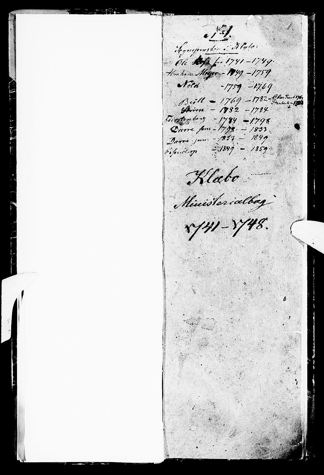 SAT, Ministerialprotokoller, klokkerbøker og fødselsregistre - Sør-Trøndelag, 618/L0436: Ministerialbok nr. 618A01, 1741-1749, s. 1