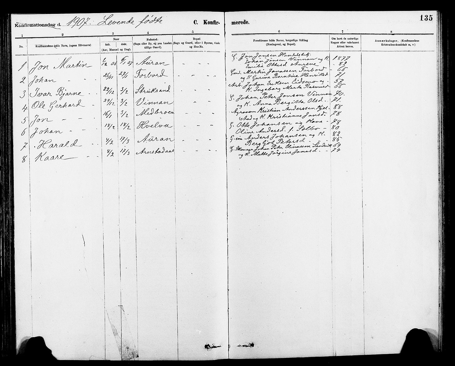 SAT, Ministerialprotokoller, klokkerbøker og fødselsregistre - Nord-Trøndelag, 712/L0103: Klokkerbok nr. 712C01, 1878-1917, s. 135