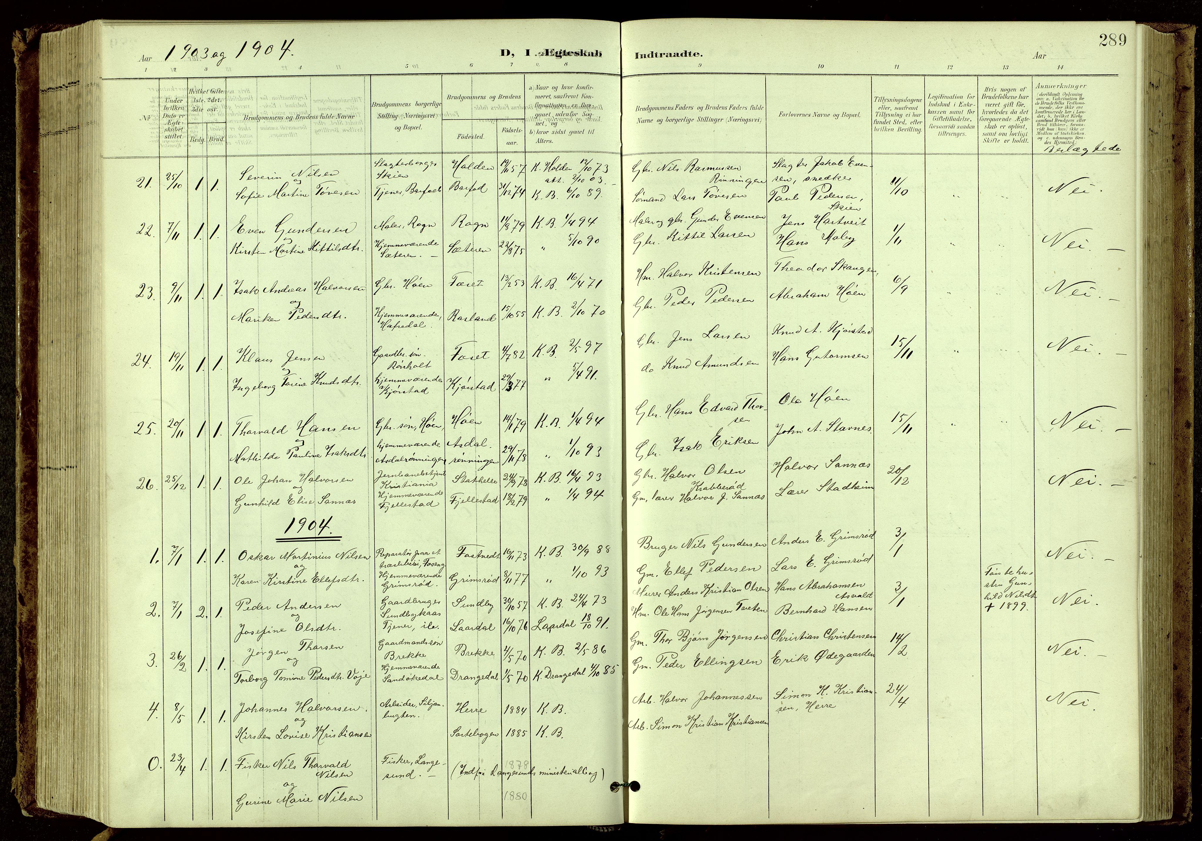 SAKO, Bamble kirkebøker, G/Ga/L0010: Klokkerbok nr. I 10, 1901-1919, s. 289