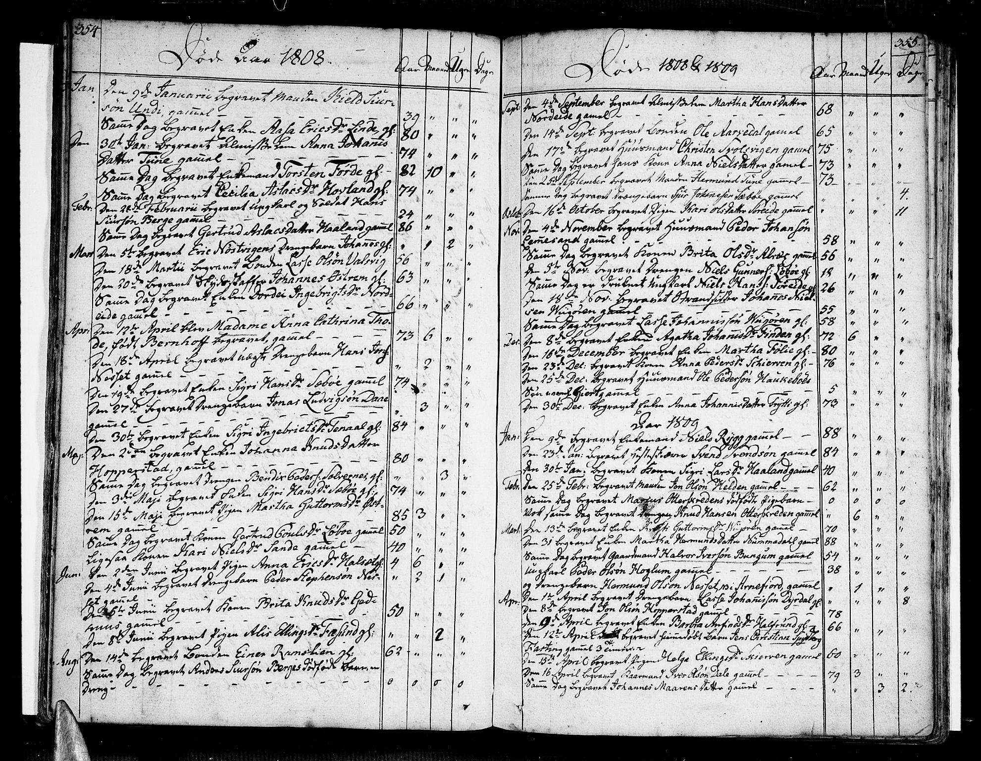 SAB, Vik Sokneprestembete, Ministerialbok nr. A 5, 1787-1820, s. 354-355
