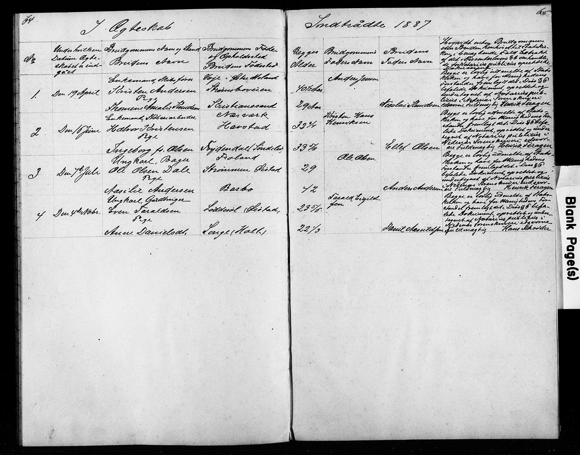 SAK, Den evangelisk-lutherske frimenighet, Arendal, F/Fa/L0003: Dissenterprotokoll nr. F 7, 1887-1887, s. 64-65