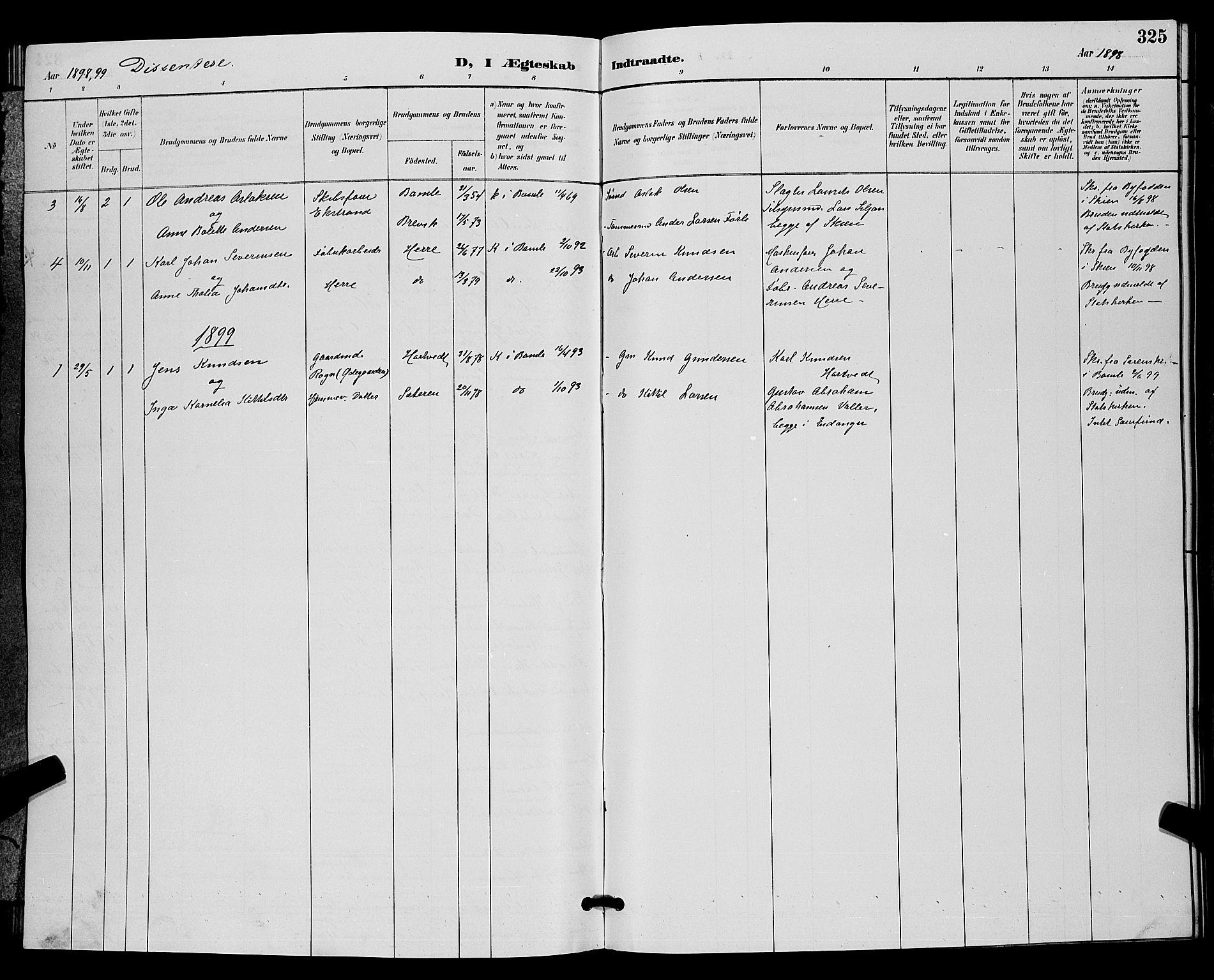 SAKO, Bamble kirkebøker, G/Ga/L0009: Klokkerbok nr. I 9, 1888-1900, s. 325