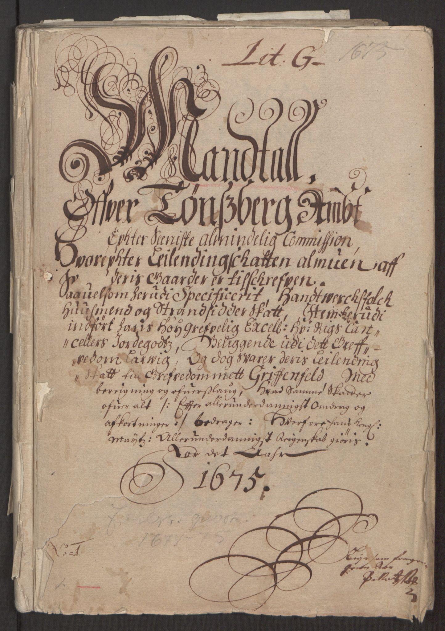 RA, Rentekammeret inntil 1814, Reviderte regnskaper, Fogderegnskap, R32/L1843: Fogderegnskap Jarlsberg grevskap, 1674-1675, s. 111