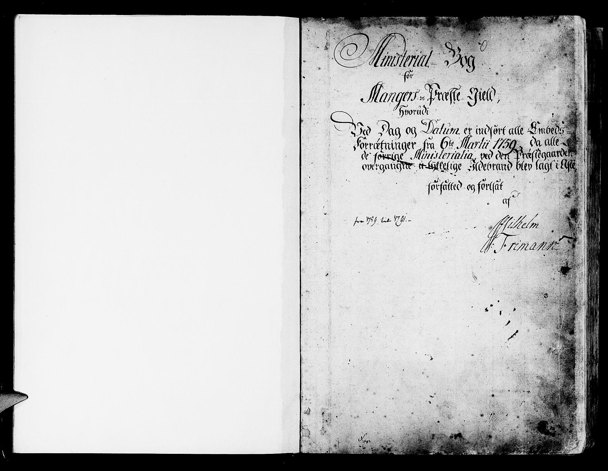 SAB, Manger sokneprestembete, H/Haa: Ministerialbok nr. A 1, 1759-1791, s. 1