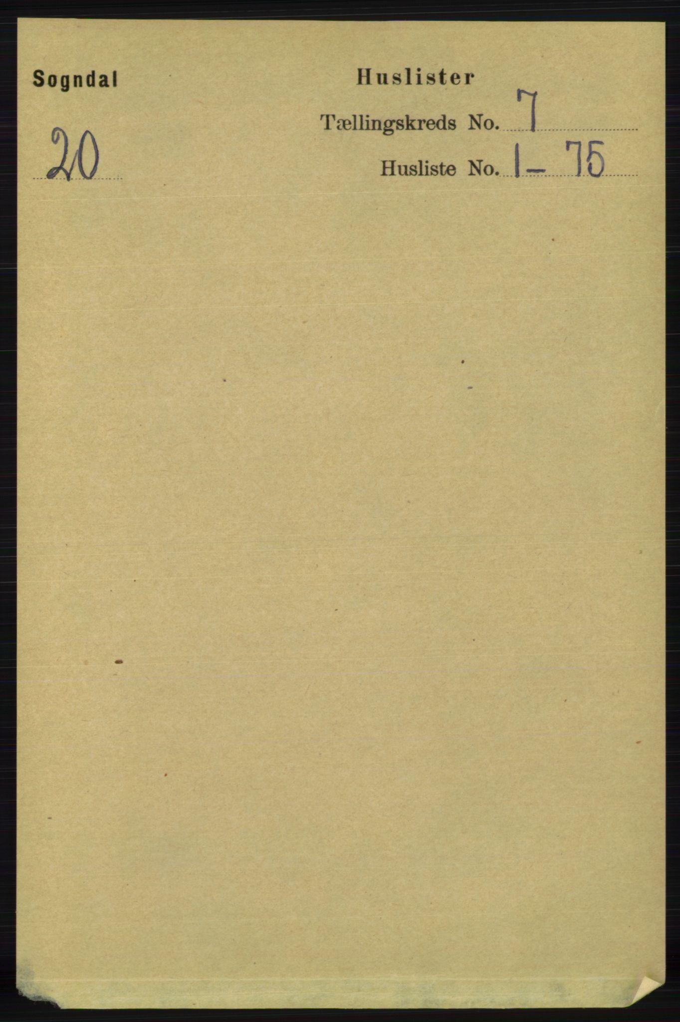 RA, Folketelling 1891 for 1111 Sokndal herred, 1891, s. 2026