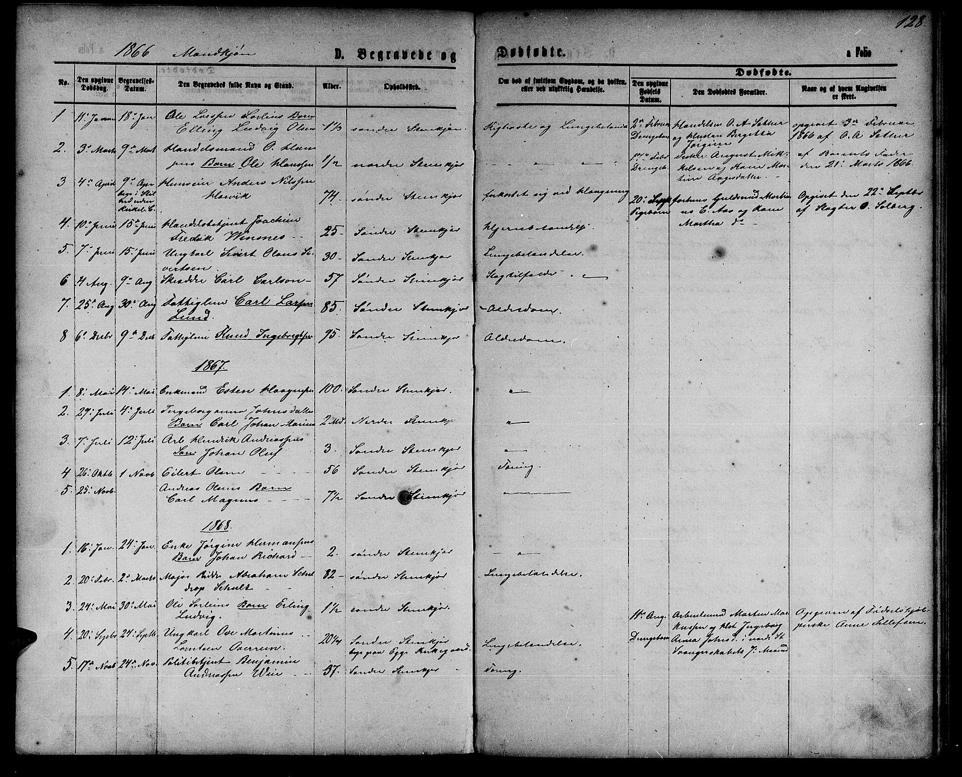 SAT, Ministerialprotokoller, klokkerbøker og fødselsregistre - Nord-Trøndelag, 739/L0373: Klokkerbok nr. 739C01, 1865-1882, s. 128