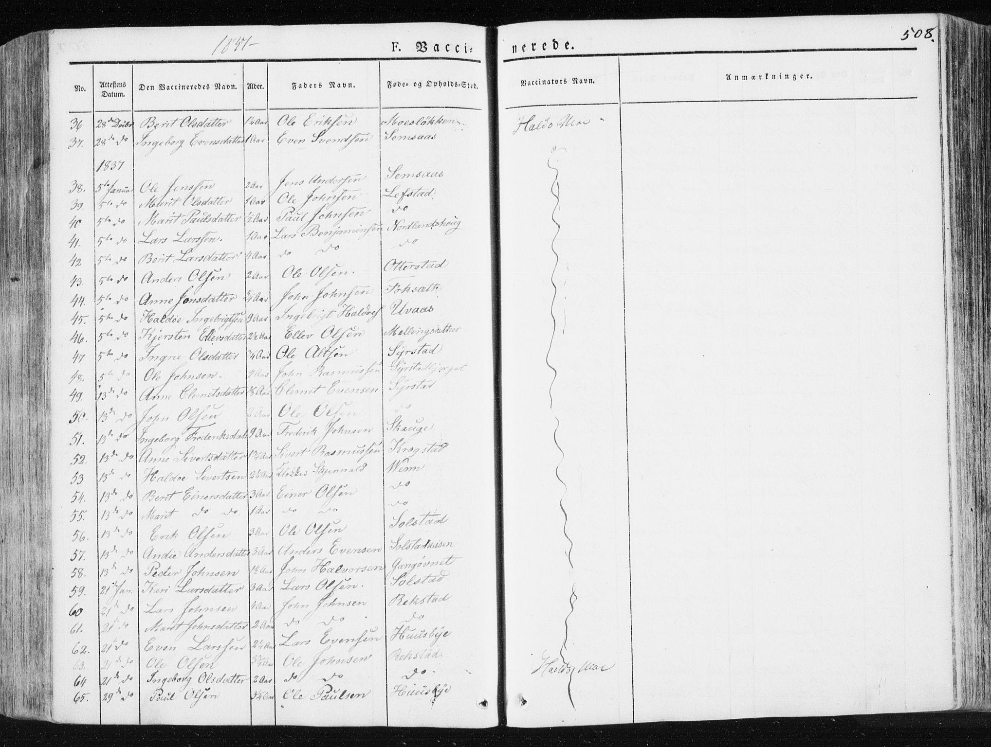 SAT, Ministerialprotokoller, klokkerbøker og fødselsregistre - Sør-Trøndelag, 665/L0771: Ministerialbok nr. 665A06, 1830-1856, s. 508