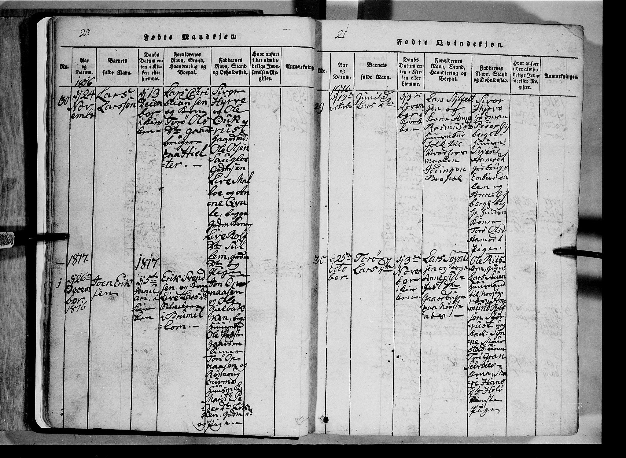 SAH, Lom prestekontor, L/L0003: Klokkerbok nr. 3, 1815-1844, s. 20-21