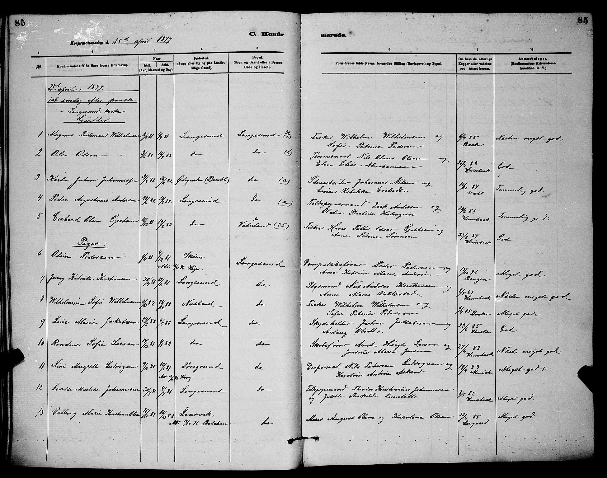 SAKO, Langesund kirkebøker, G/Ga/L0005: Klokkerbok nr. 5, 1884-1898, s. 85
